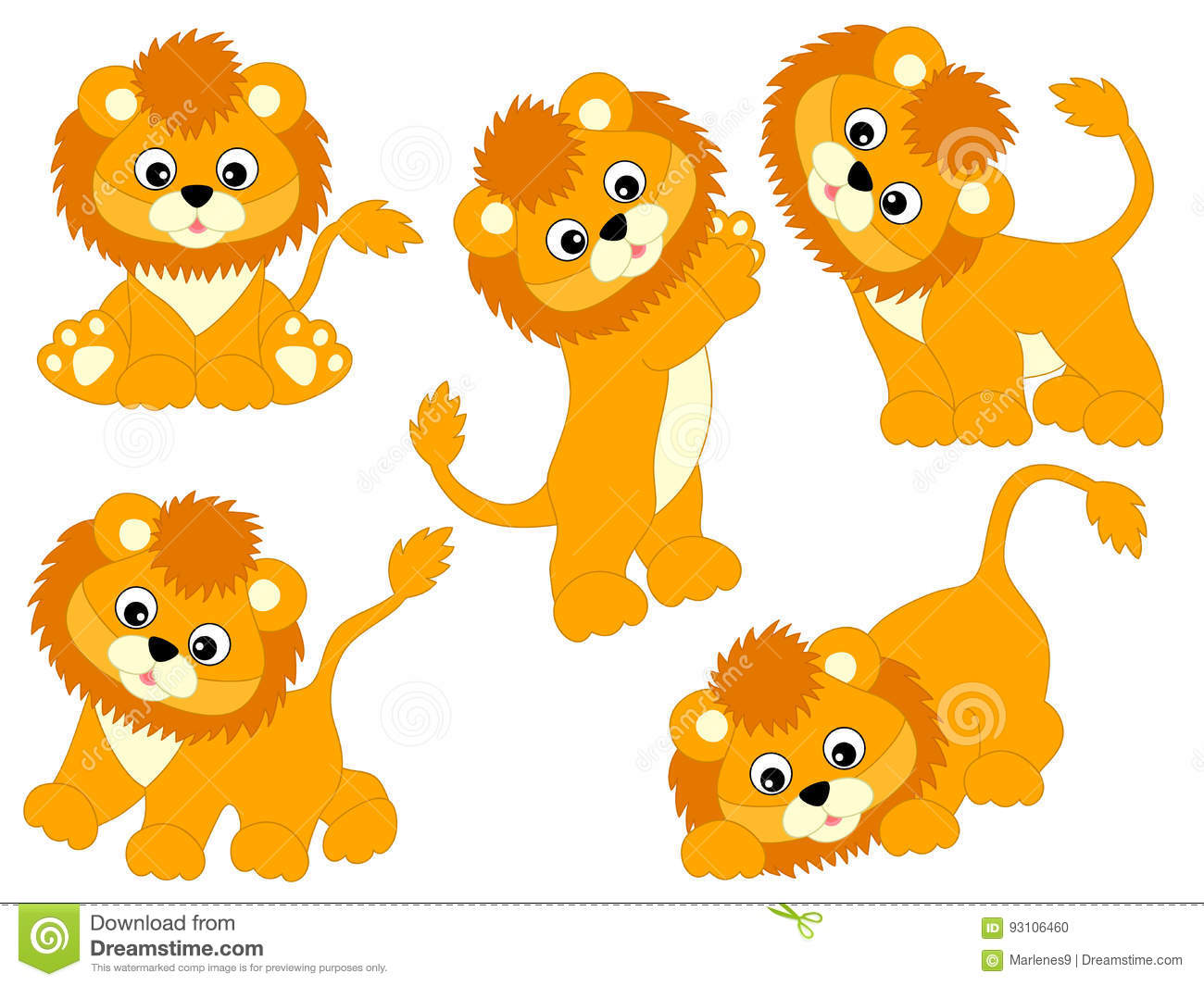vector lions set stock vector illustration of africa 93106460 rh dreamstime com cute baby lion clipart baby lion clipart png