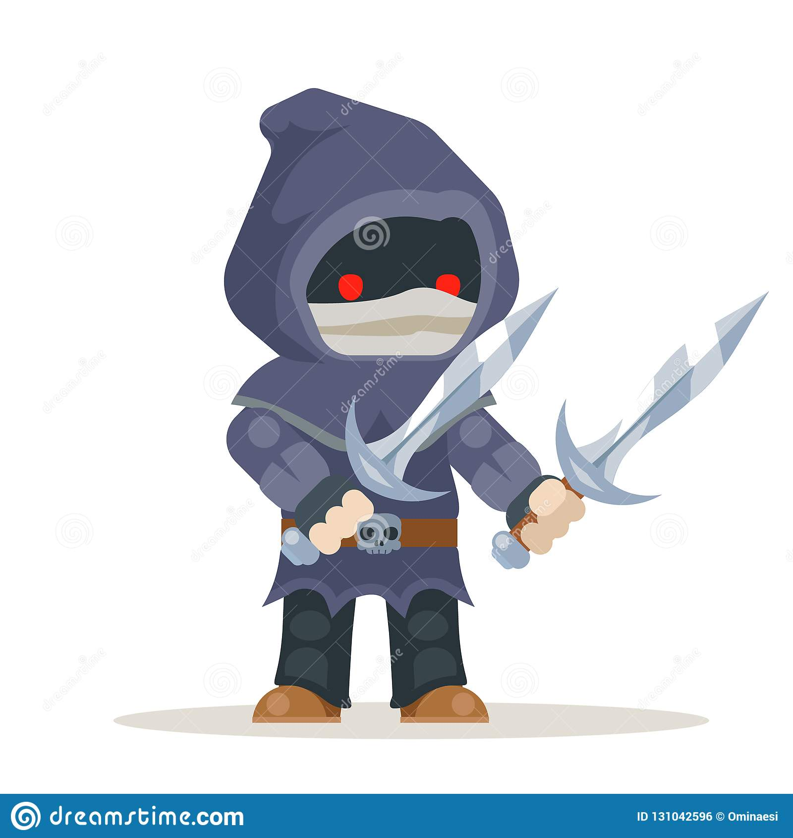 Vector listo acodado carácter medieval del carácter de la animación del juego del RPG de la acción de la fantasía del ladrón del