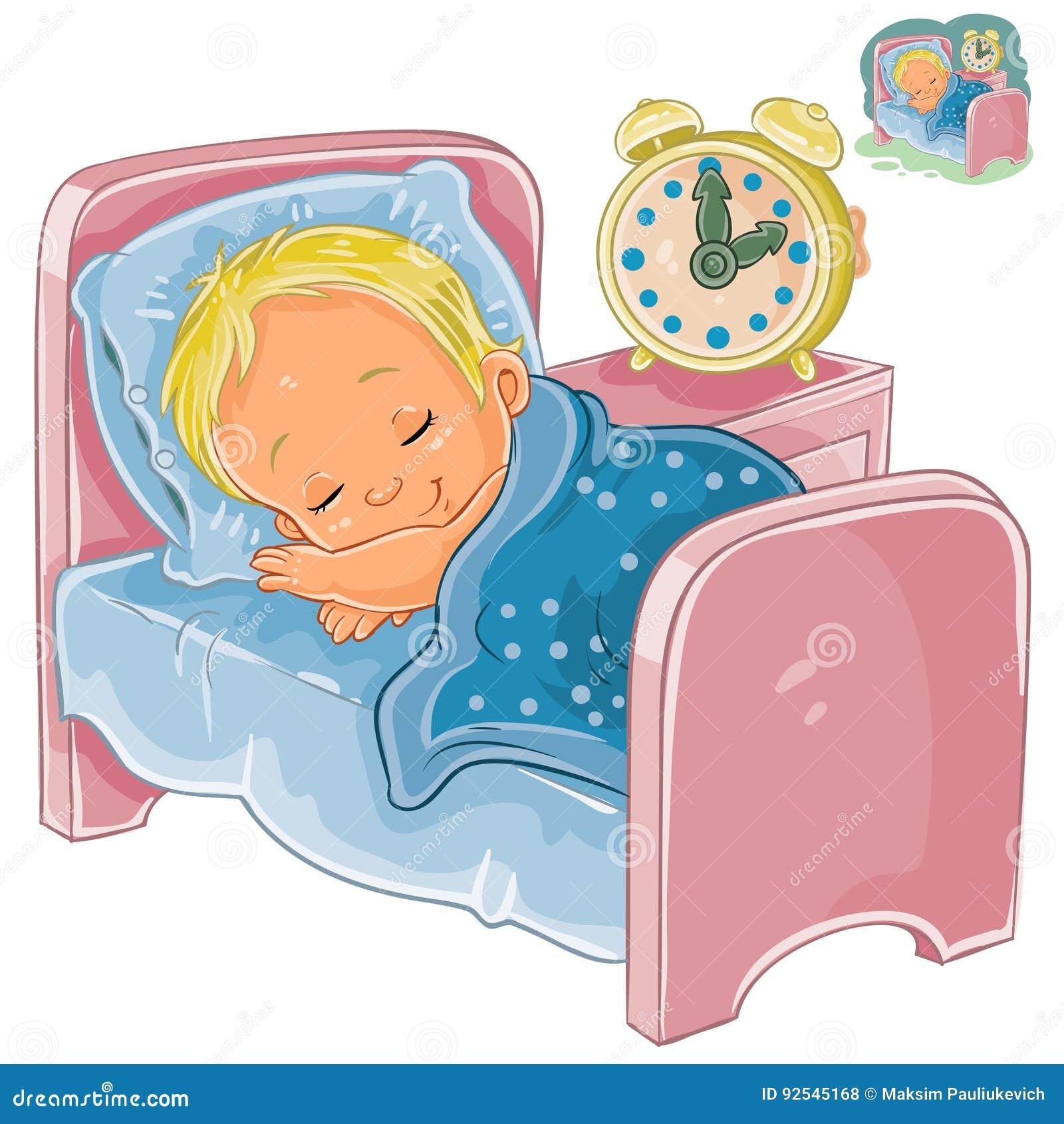 Vector Little Baby Sleeping In His Bed Stock Vector ...