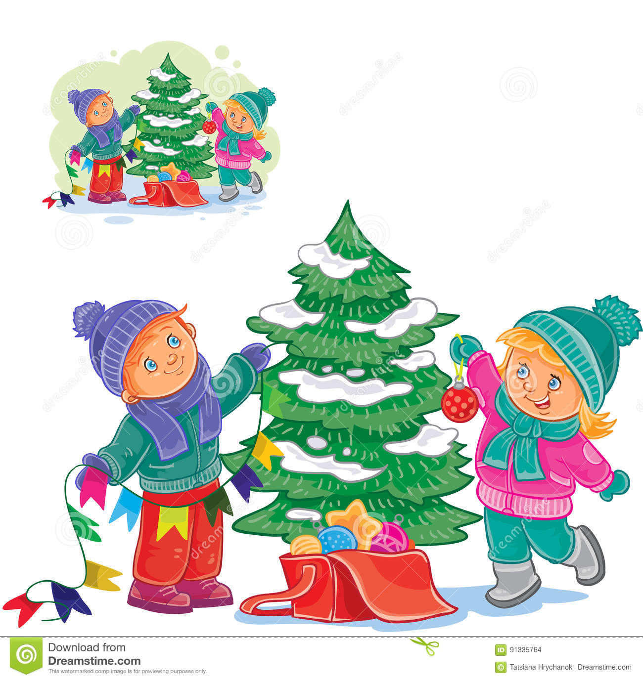 Little Girl Christmas Tree: Vector Little Boy And Girl Decorating A Christmas Tree