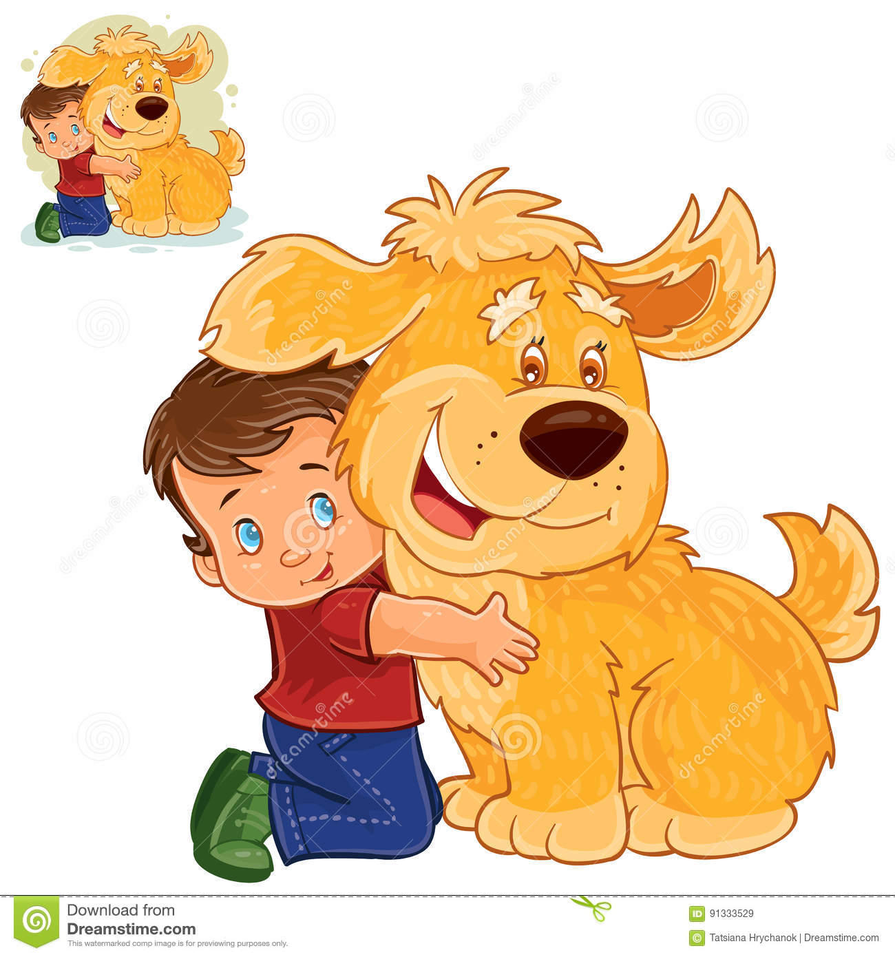 vector little boy sitting on his lap next to a big dog and hugging