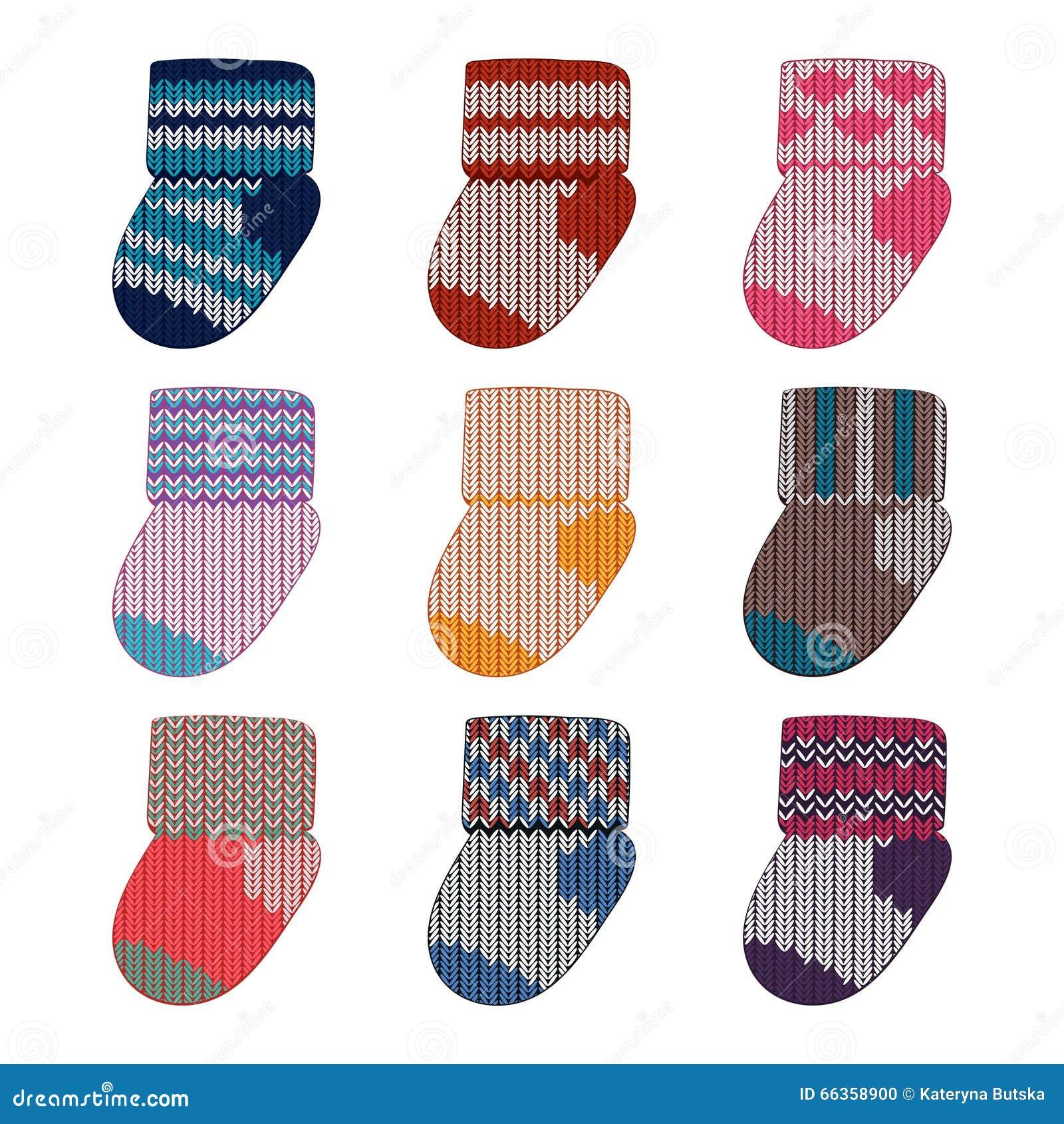 Vector Little Knitting Socks Set. Children Theme Background. Baby ...