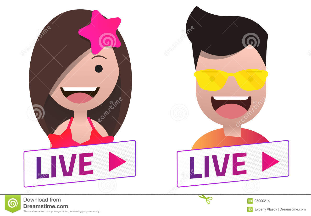 vector live stream sign with summer male and female avatar set