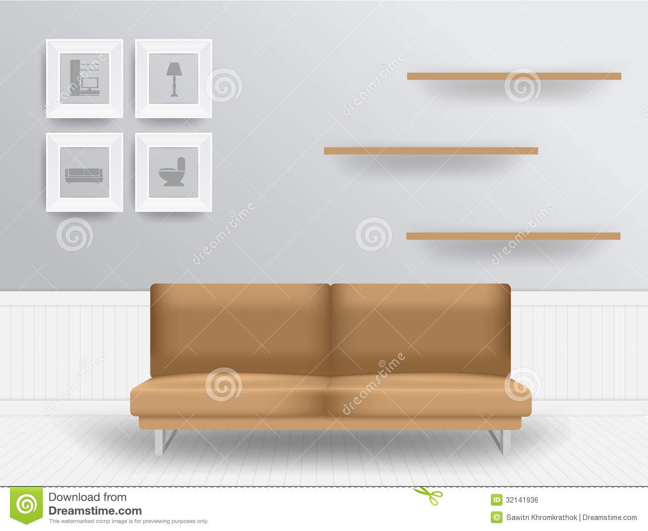 Vector Living Room Interior Concept Stock Vector