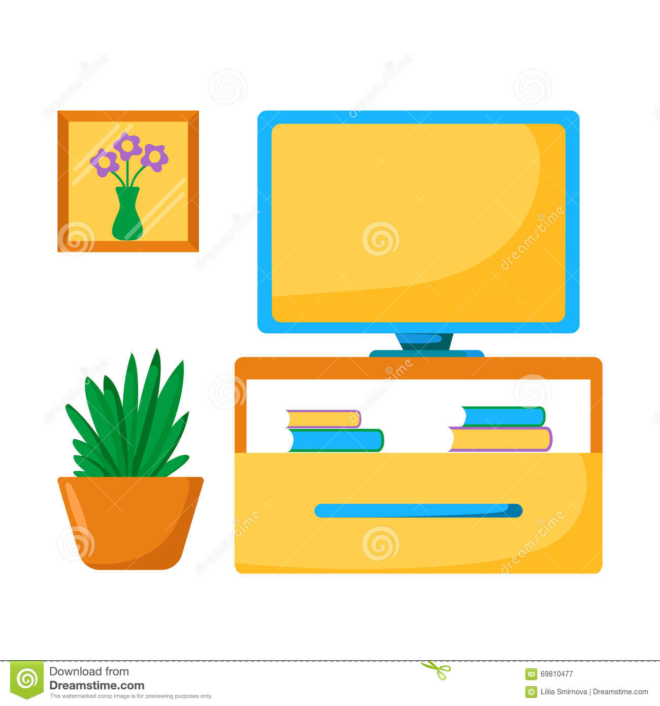 Cartoon Living Room: Vector Living Room Interior With Tv Place Stock Vector