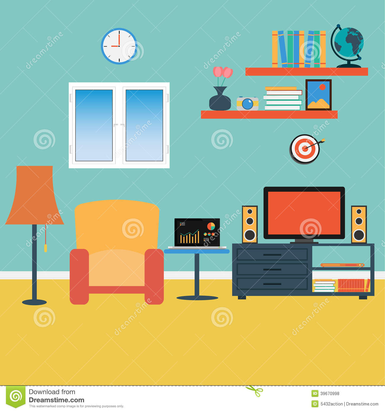 Vector of living room stock vector illustration of sofa for Online drawing room