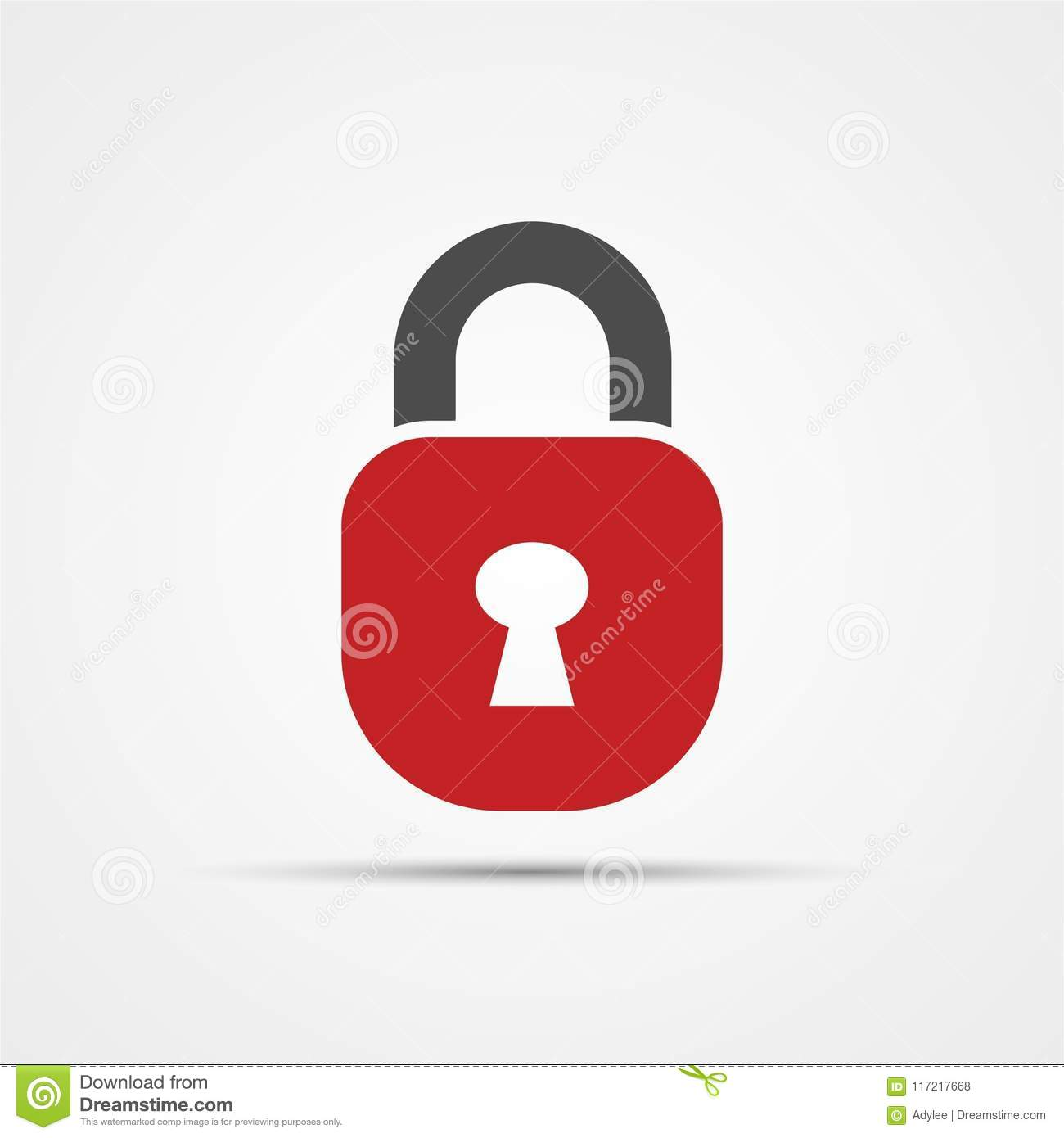 Vector Lock Icon Symbol And Security With Red Color Stock Photo