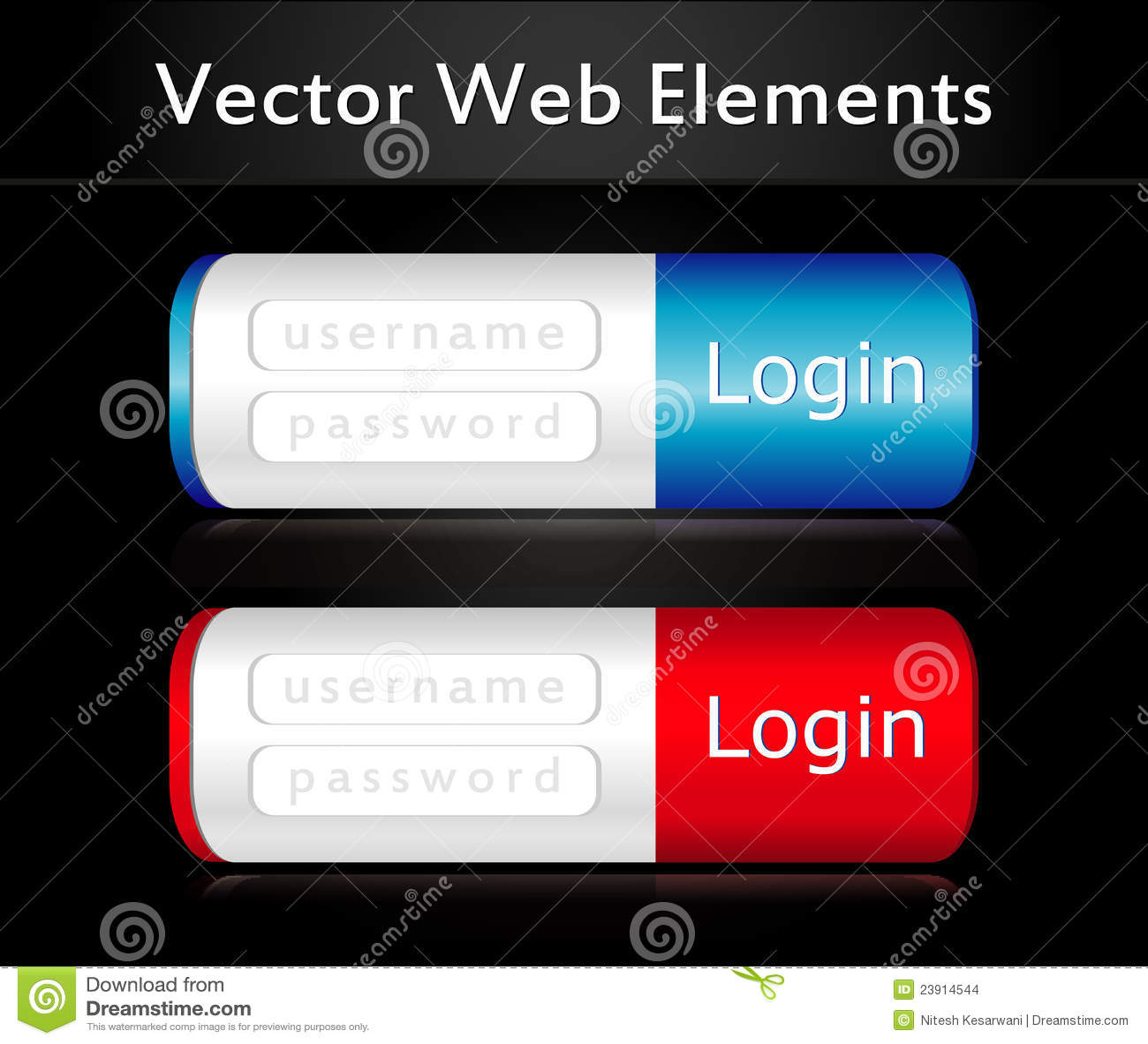 Vector Login Form Template Design Stock Illustration