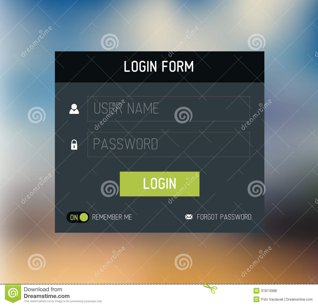 vector login form template    design royalty free stock