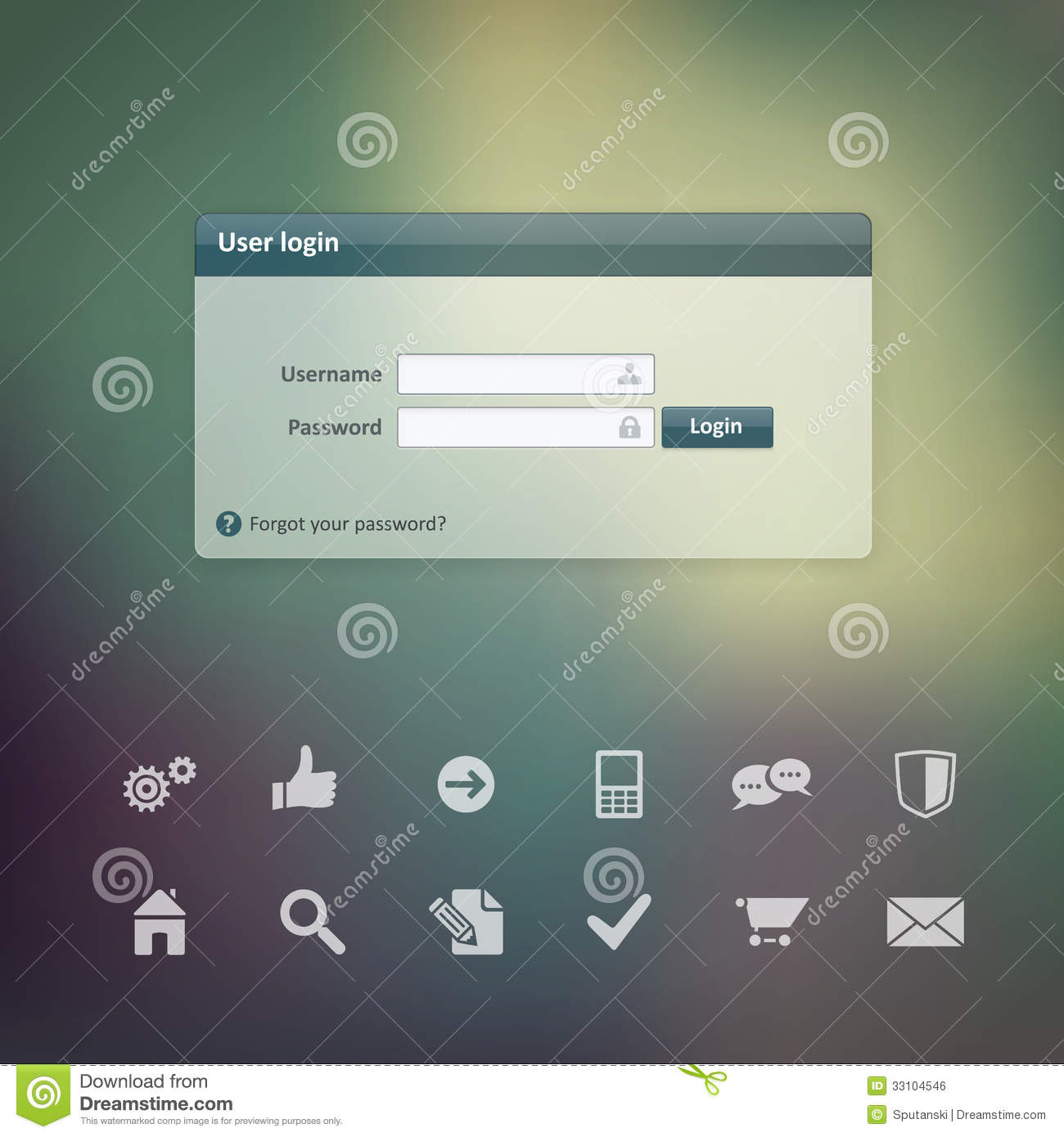 Vector Login Form Ui Element Width Useful Web Icons Stock