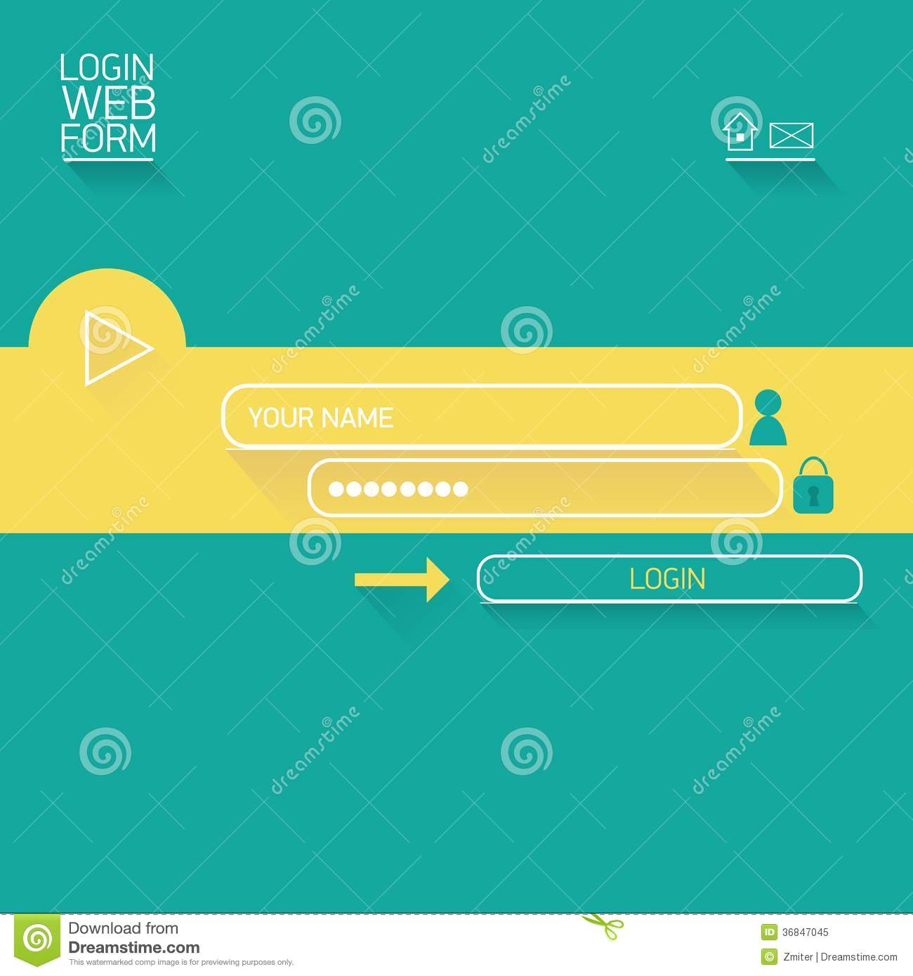 Vector Login Website Template Flat Design Illustration 36847045