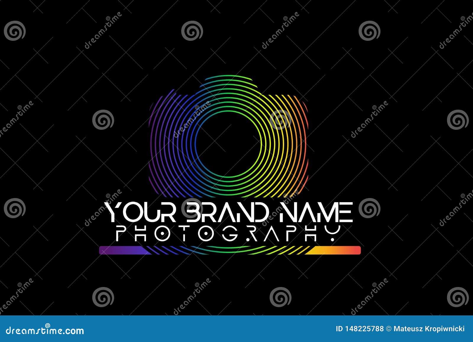 Rainbow camera logo on black background.