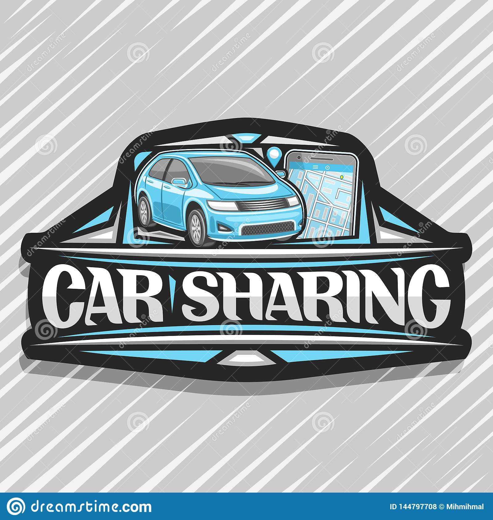 Vector logo for car sharing company black decorative sticker with cartoon subcompact hatchback and cellphone original lettering for words car sharing