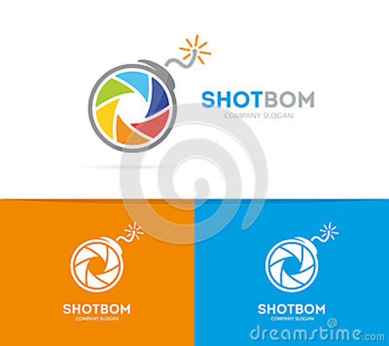 Vector Logo Combination Of A Camera Shutter And Bomb Photography