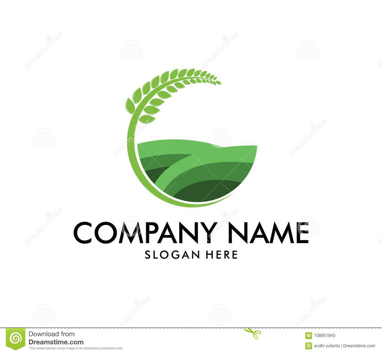 Vector logo design for agriculture, agronomy, wheat farm, rural country farming field, natural harvest