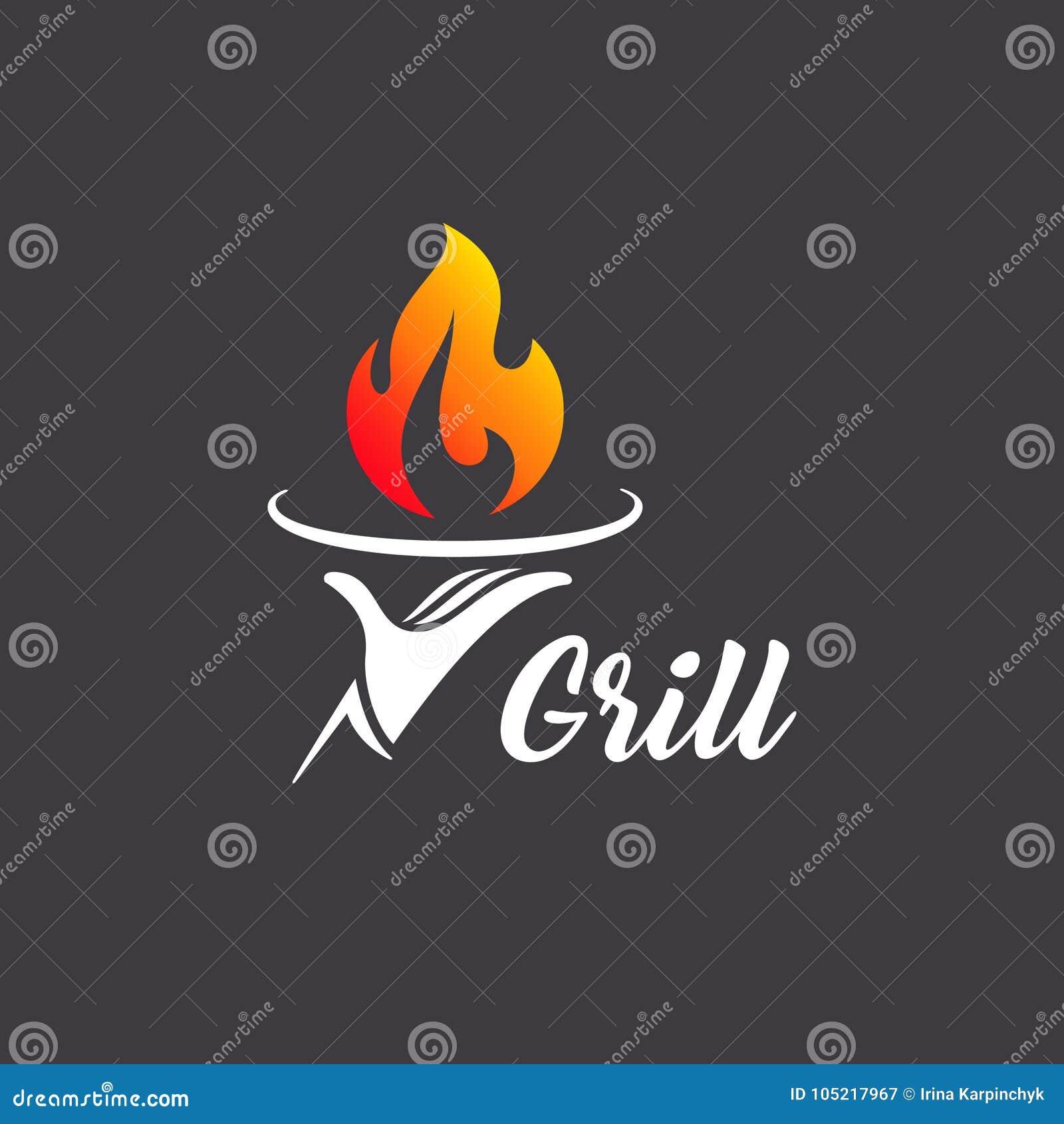 Vector logo design grill restaurant. Grilling. Barbecue