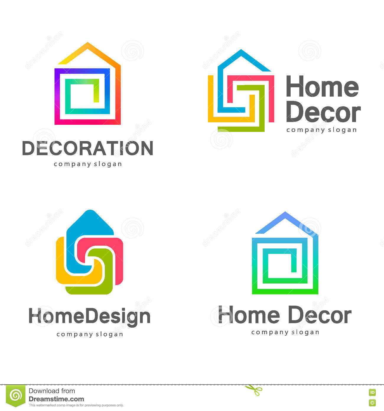 Vector logo design home decor decoration stock vector for Home decor logo 99design