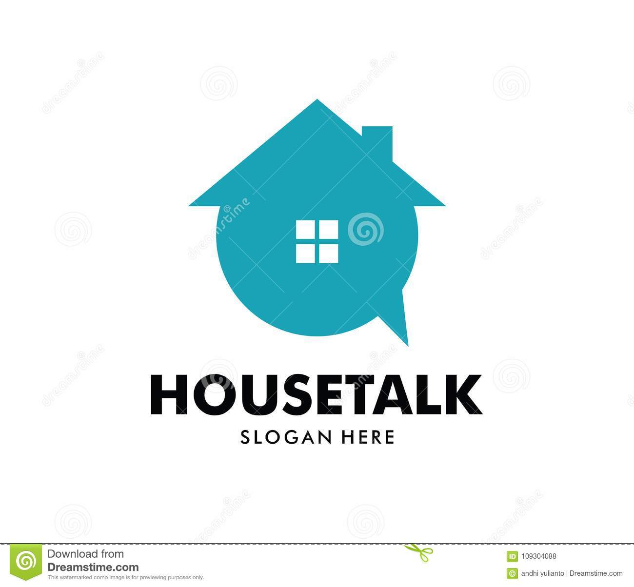 vector logo design of house talk application perfect for mobile