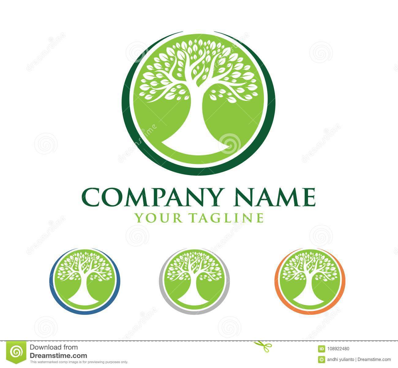 Vector Logo Design Illustration Of Oak Tree Wise And Strong