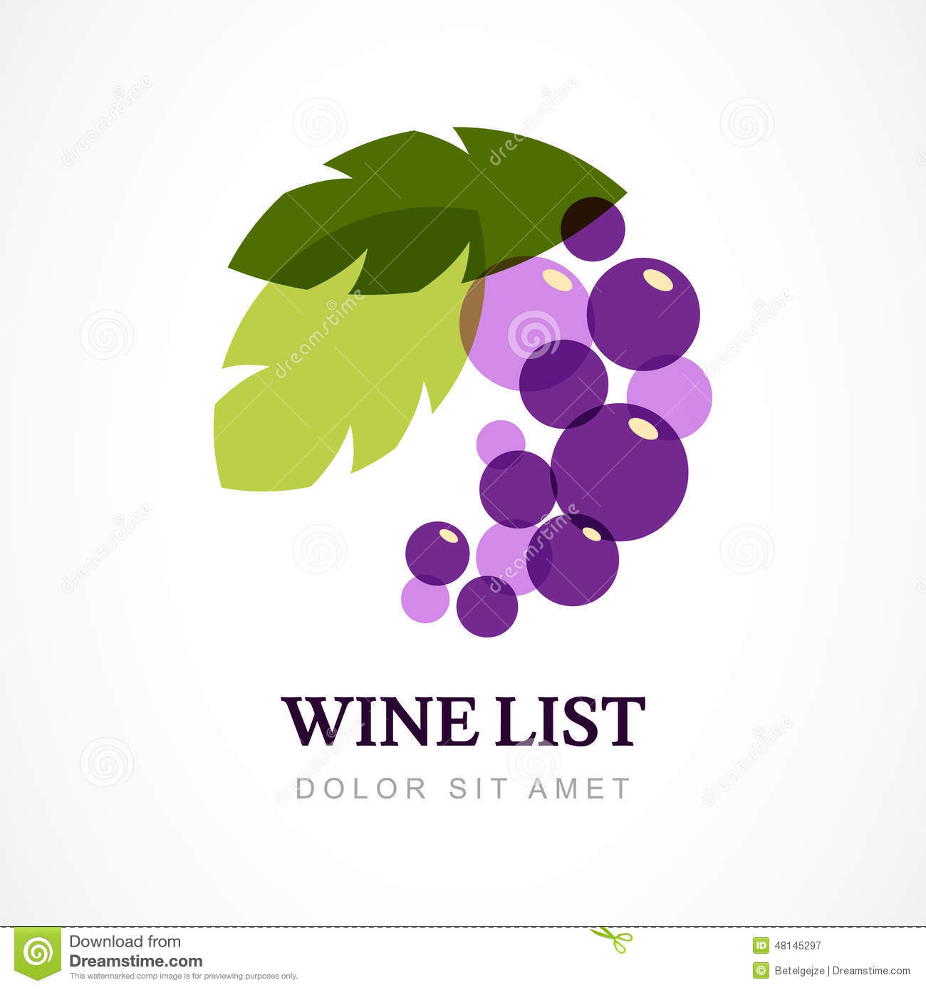 Vector Logo Design Template. Branch Of Grape With Leaves Stock Vector ...