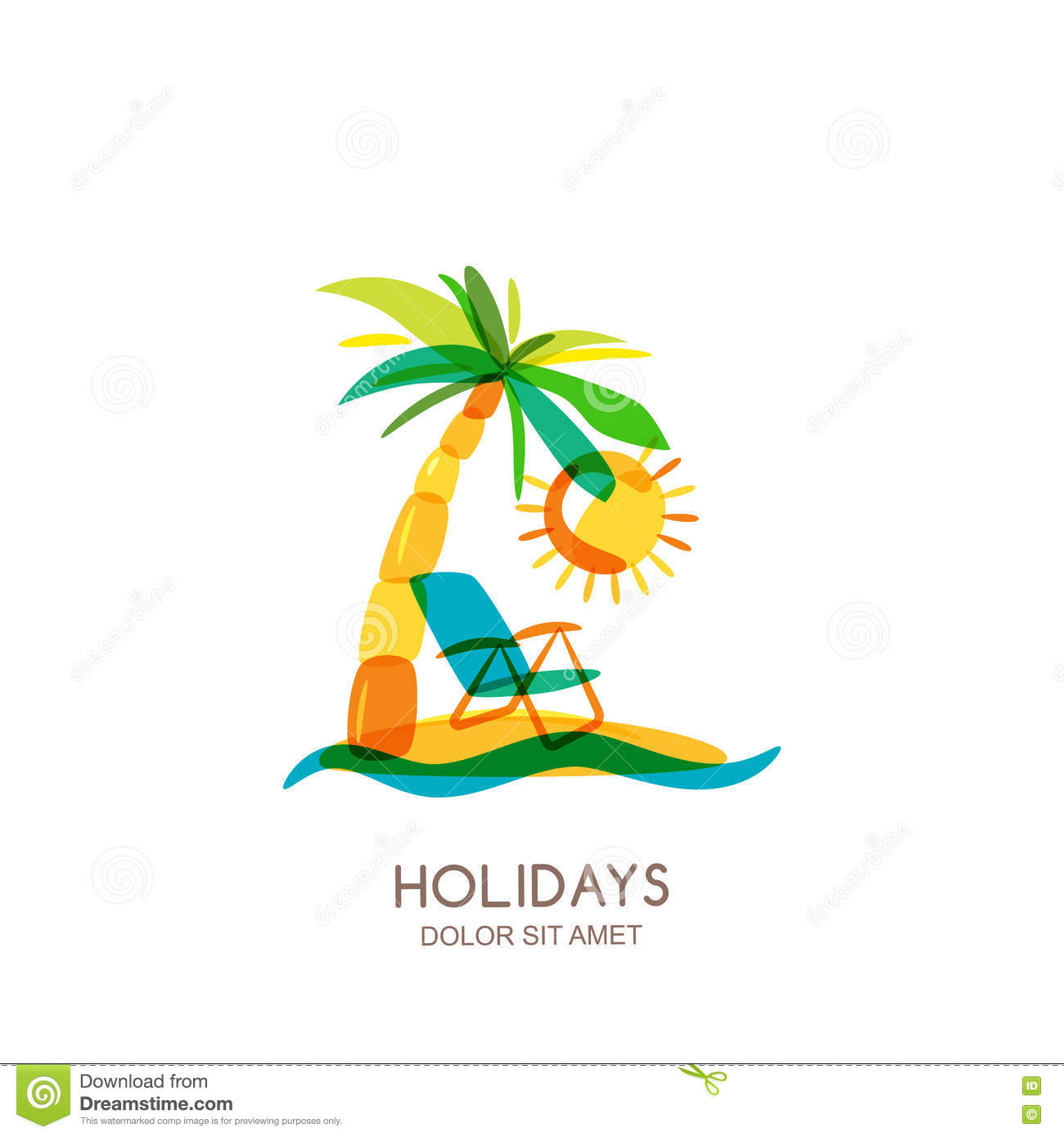 vector logo design template colorful island palms and