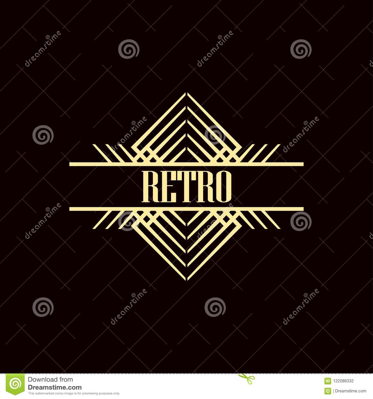 art deco logo stock vector illustration of beige geometry 122086332