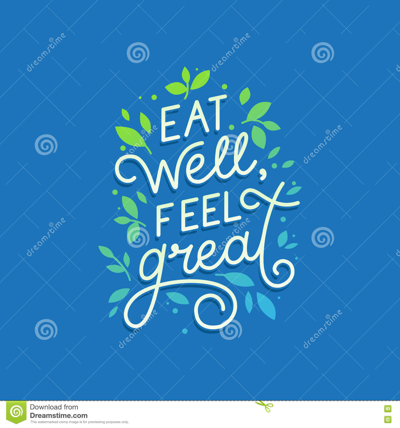 Vector Logo Design Template With Hand Lettering Text   Eat Well,