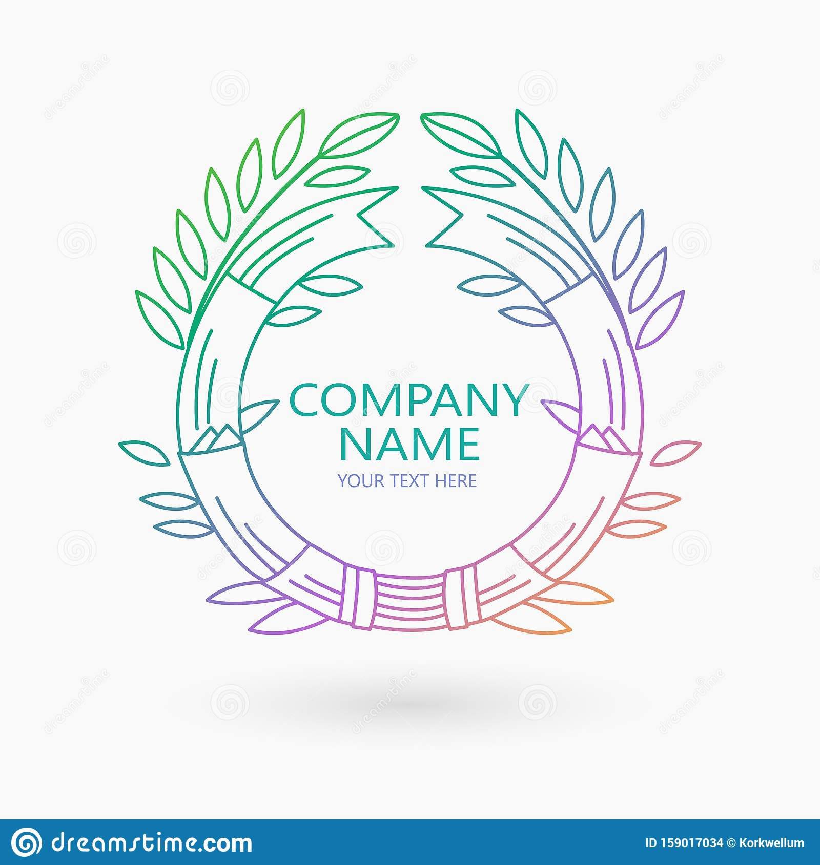 Vector Logo Design Template With Leaves And Lines For