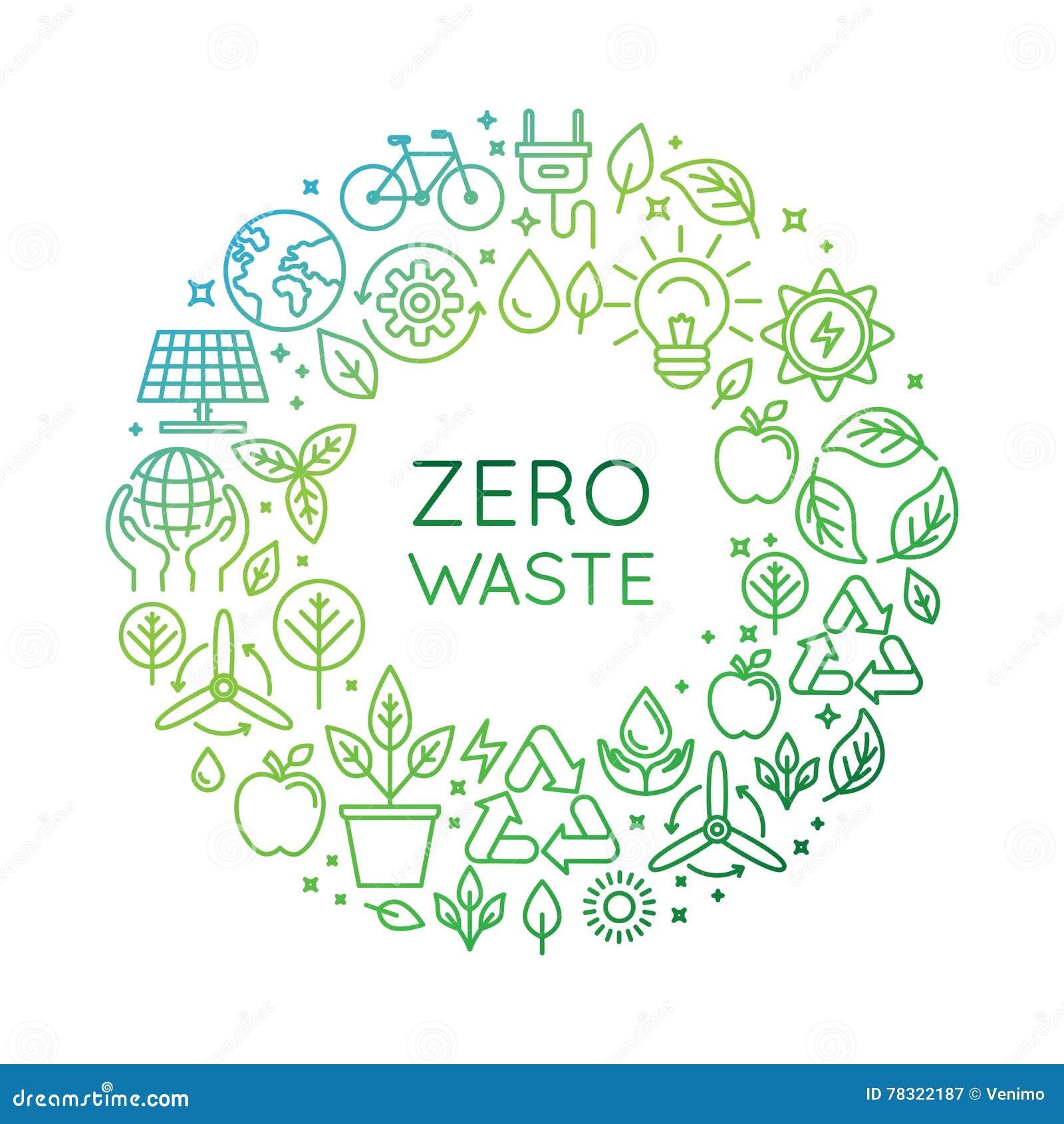 vector logo design template - zero waste concept stock vector