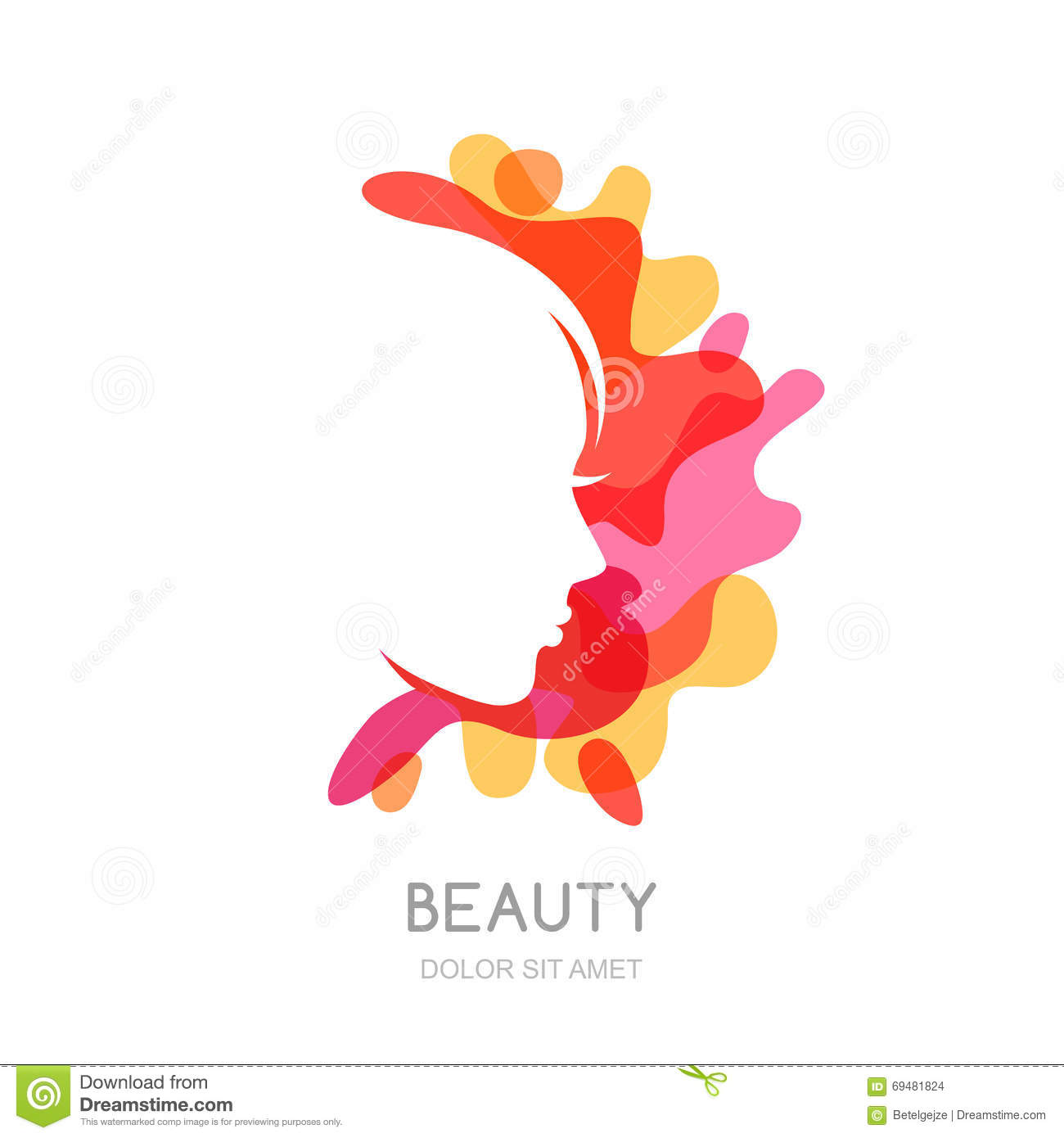 Vector logo emblem design elements with female profile on for Abstract beauty salon
