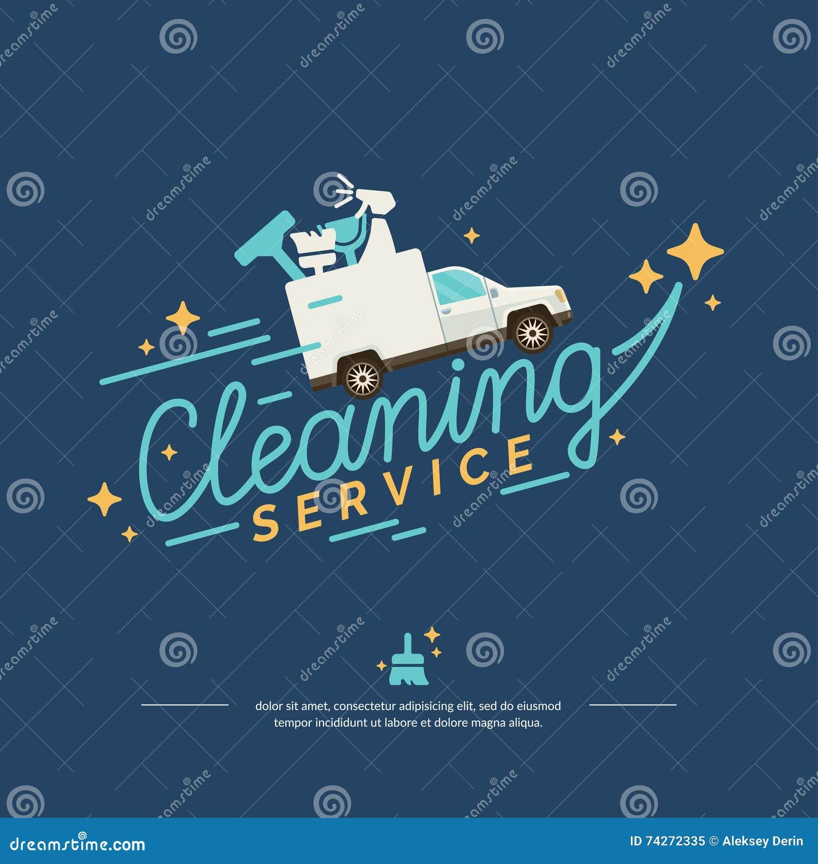 Vector Logo für einen Reinigungsservice mit Auto