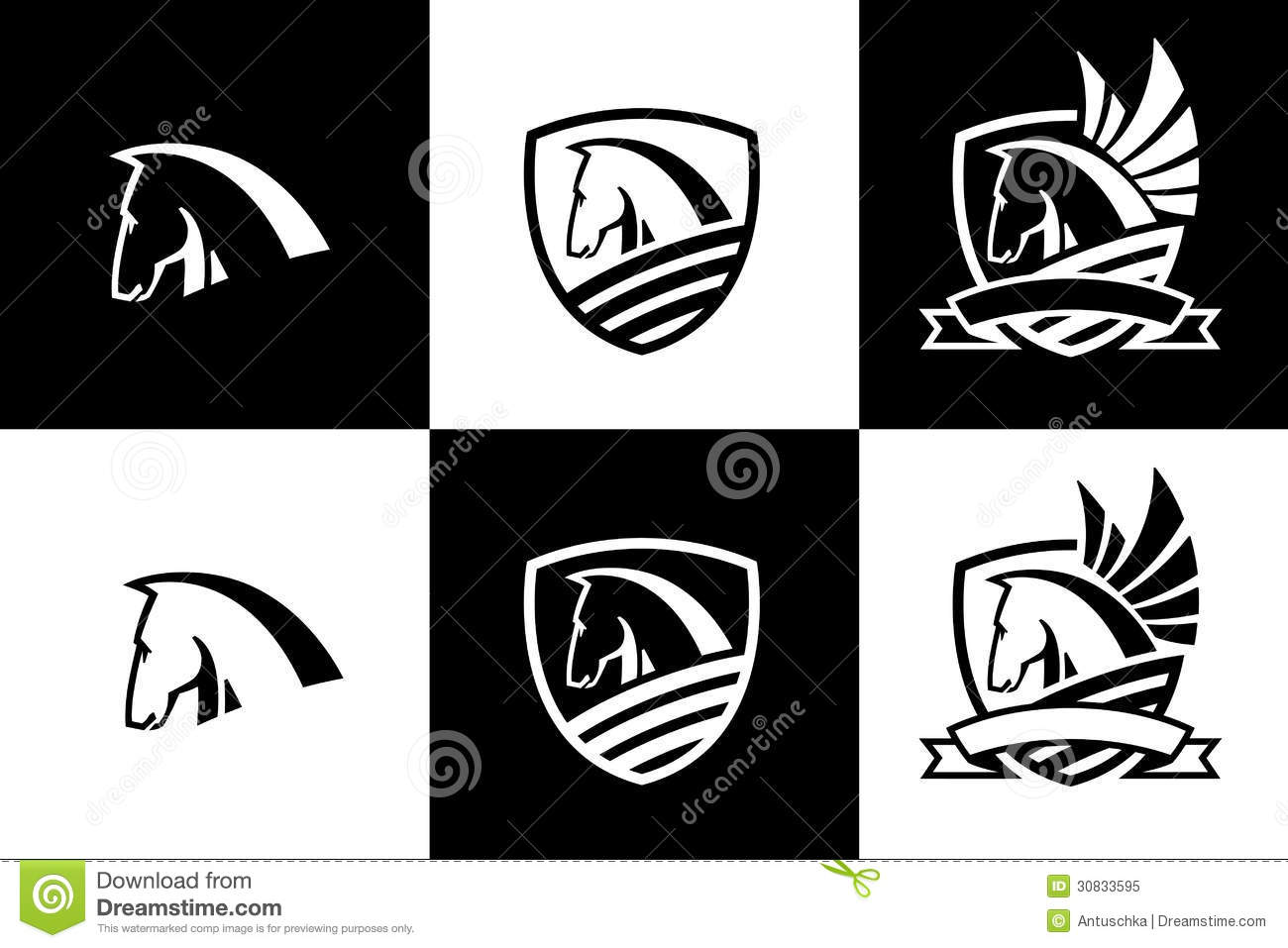 vector logo with horse head icon stock vector