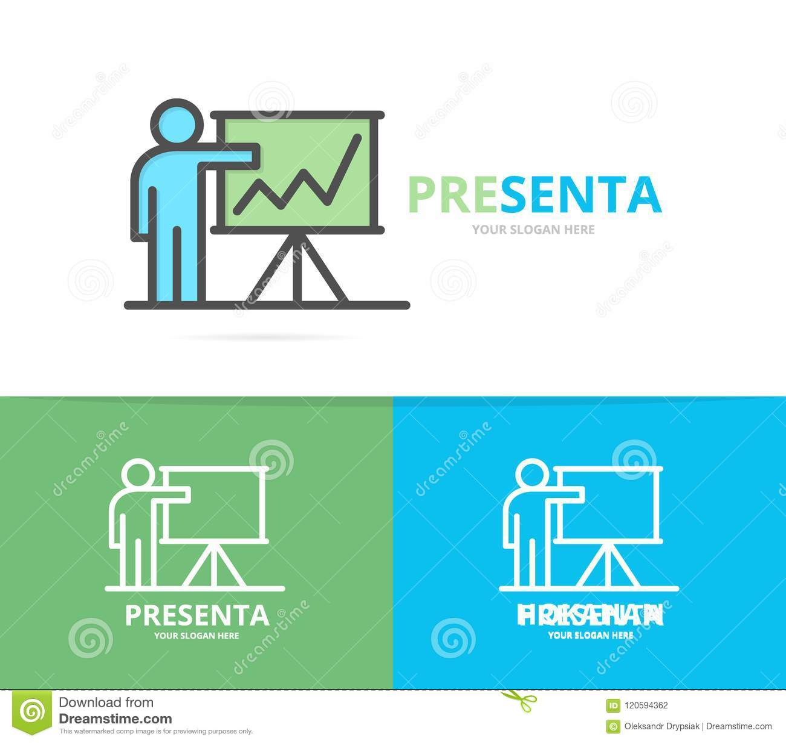Simple Teacher Or Man With Presentation Logo Design Template Symbol