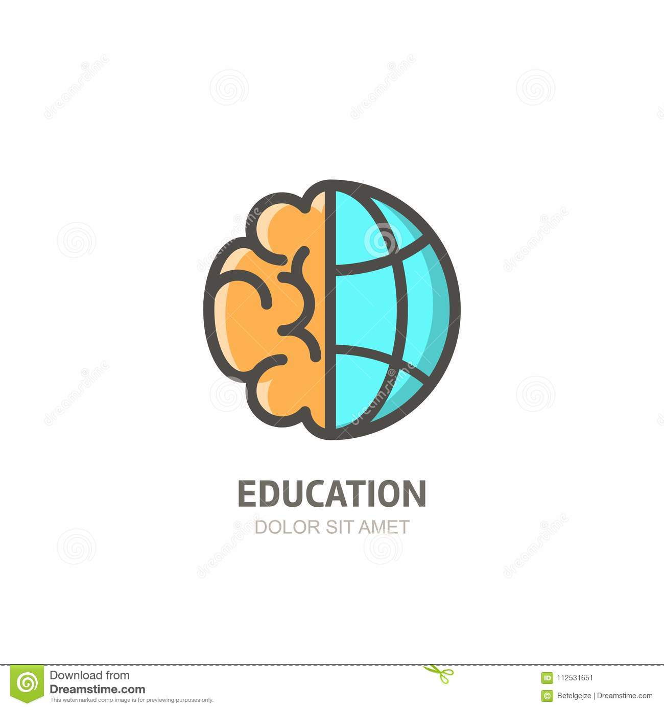 Vector logo icon with brain and globe. Flat linear illustration. Design concept for business, education, creativity.