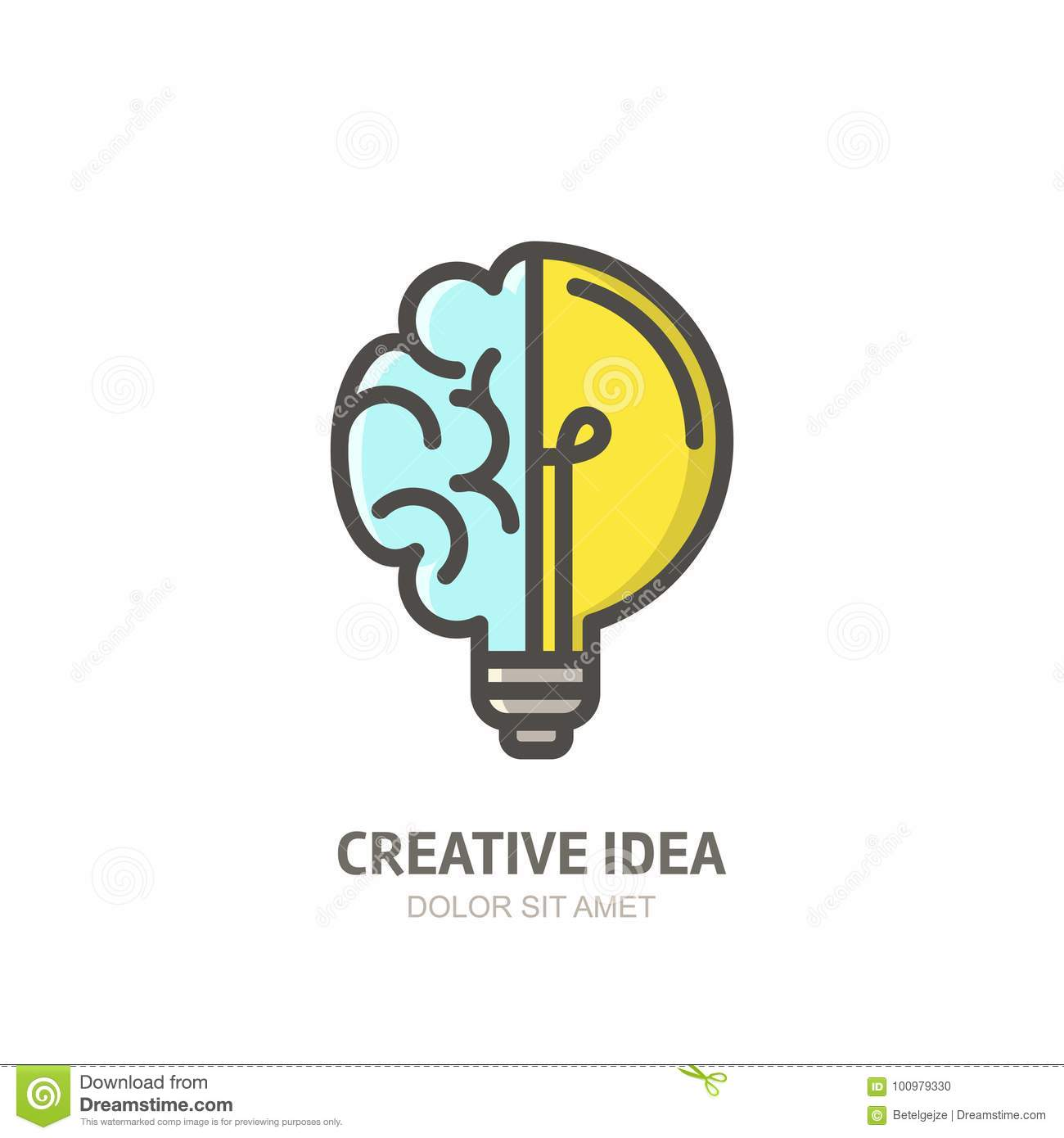 Vector Logo Icon Emblem With Brain And Light Bulb Abstract Flat