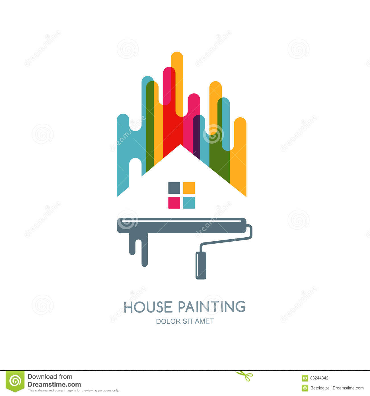 Vector Logo Label Or Emblem Design House Painting Service Decor