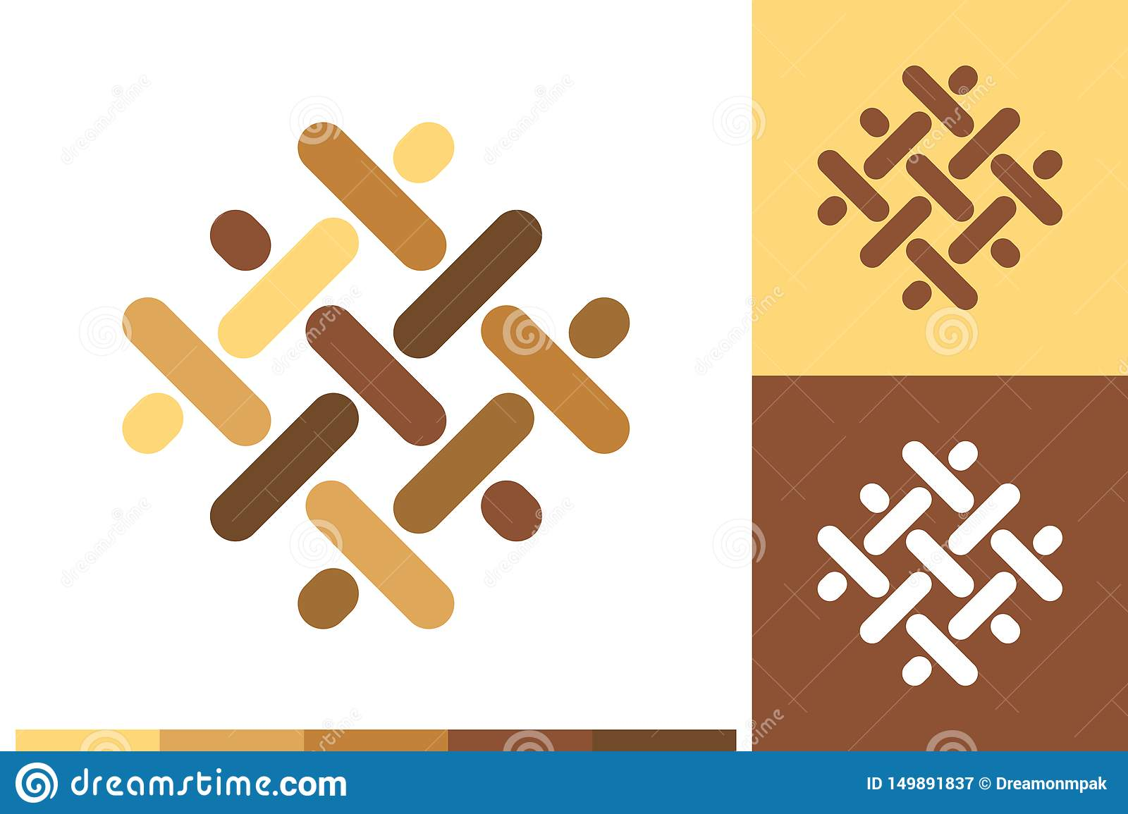 Vector Logo, Icon or Sign with Flooring, Parquet, Laminate, Lumber, Carpentry, Hardwood Elements in Natural Colors for Business, C