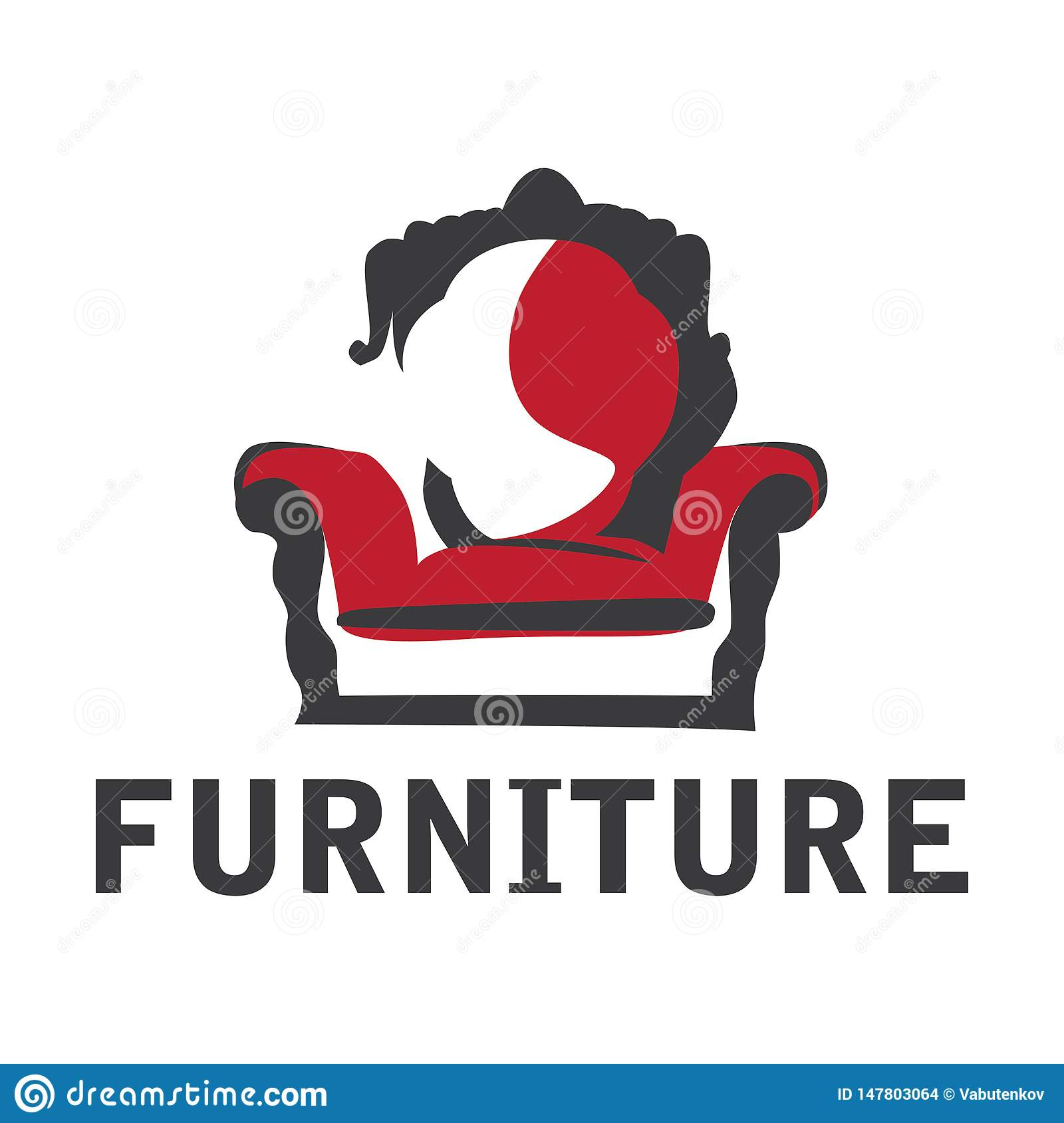 Vector logo for shop selling furniture, sofa and wardrobe