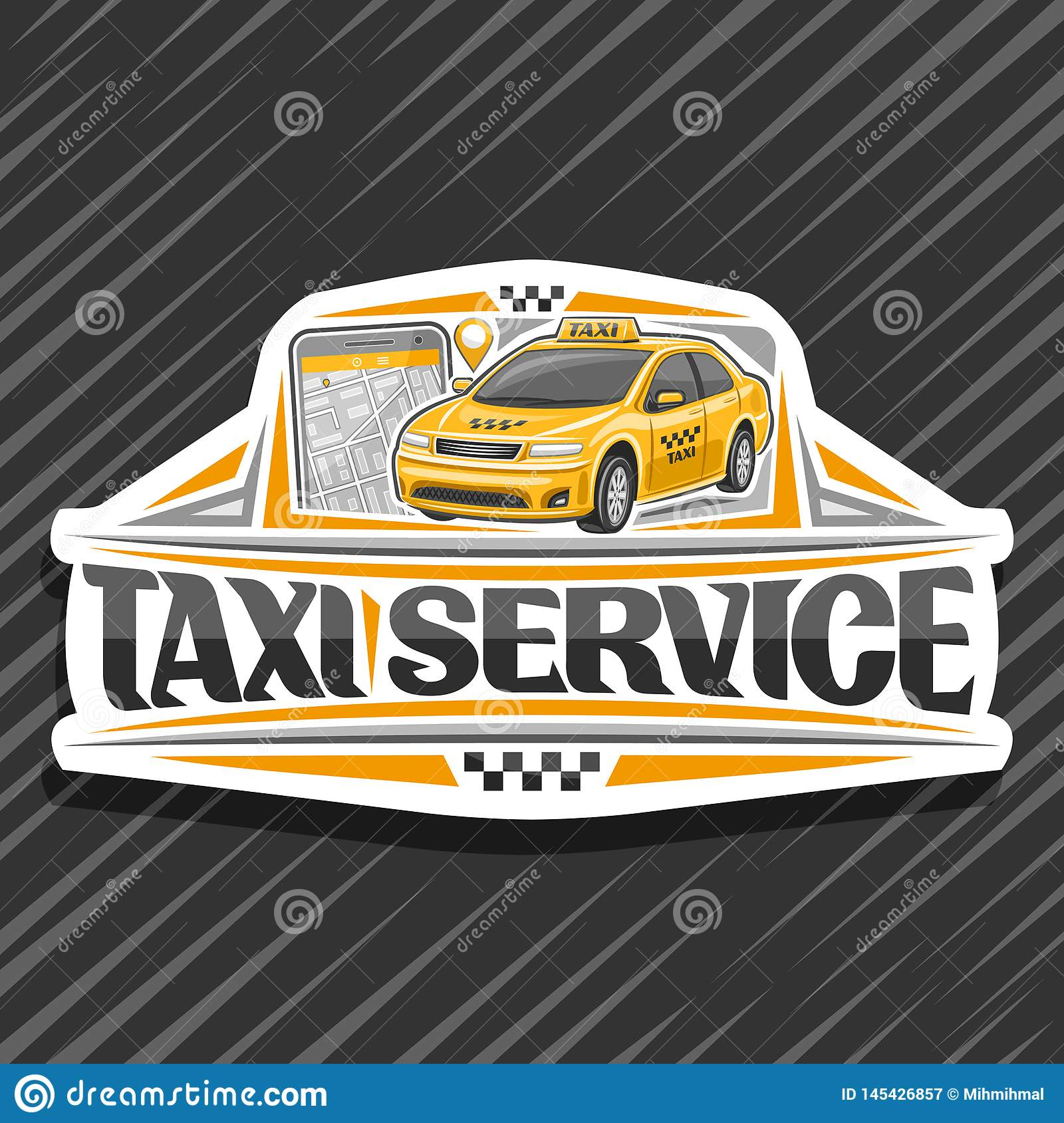 Vector Logo For Taxi Service Stock Vector - Illustration of phone