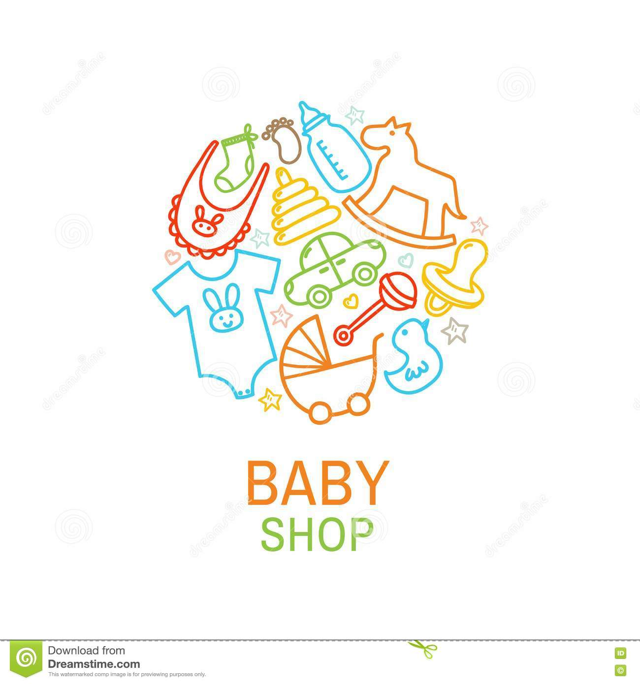 Vector Logo Template Of Baby Shop Stock Vector Illustration Of