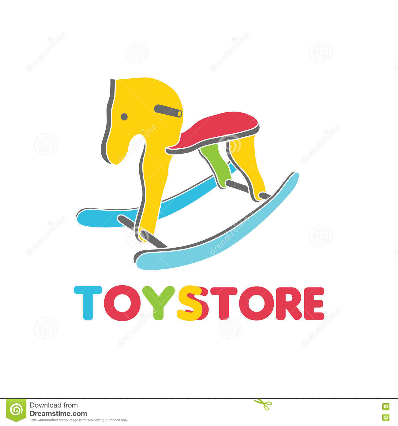 Vector Logo Toy Store Label Stylized Toy Wooden Horse Full Color Beautiful Interesting Design A Logo For The Company Stock Illustration Illustration Of Activity Corporate 80314280