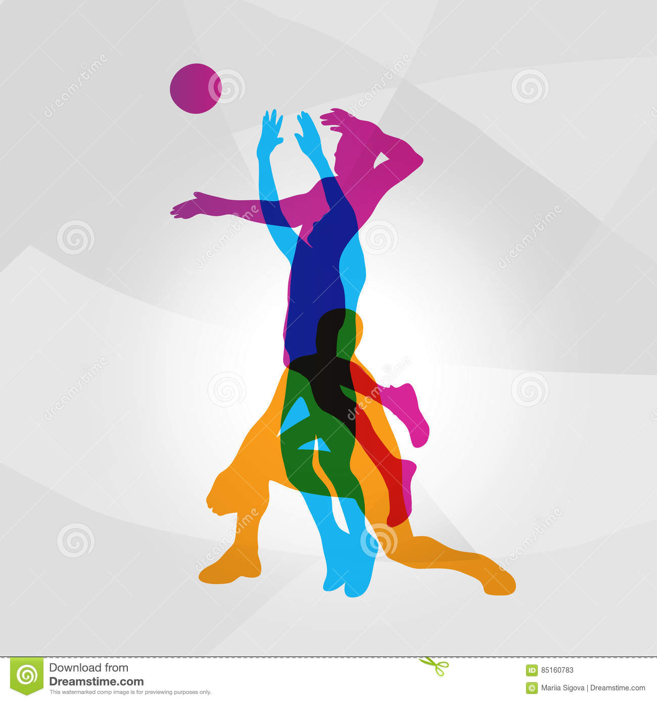 Vector logo volleyball. volleyball players hits a ball