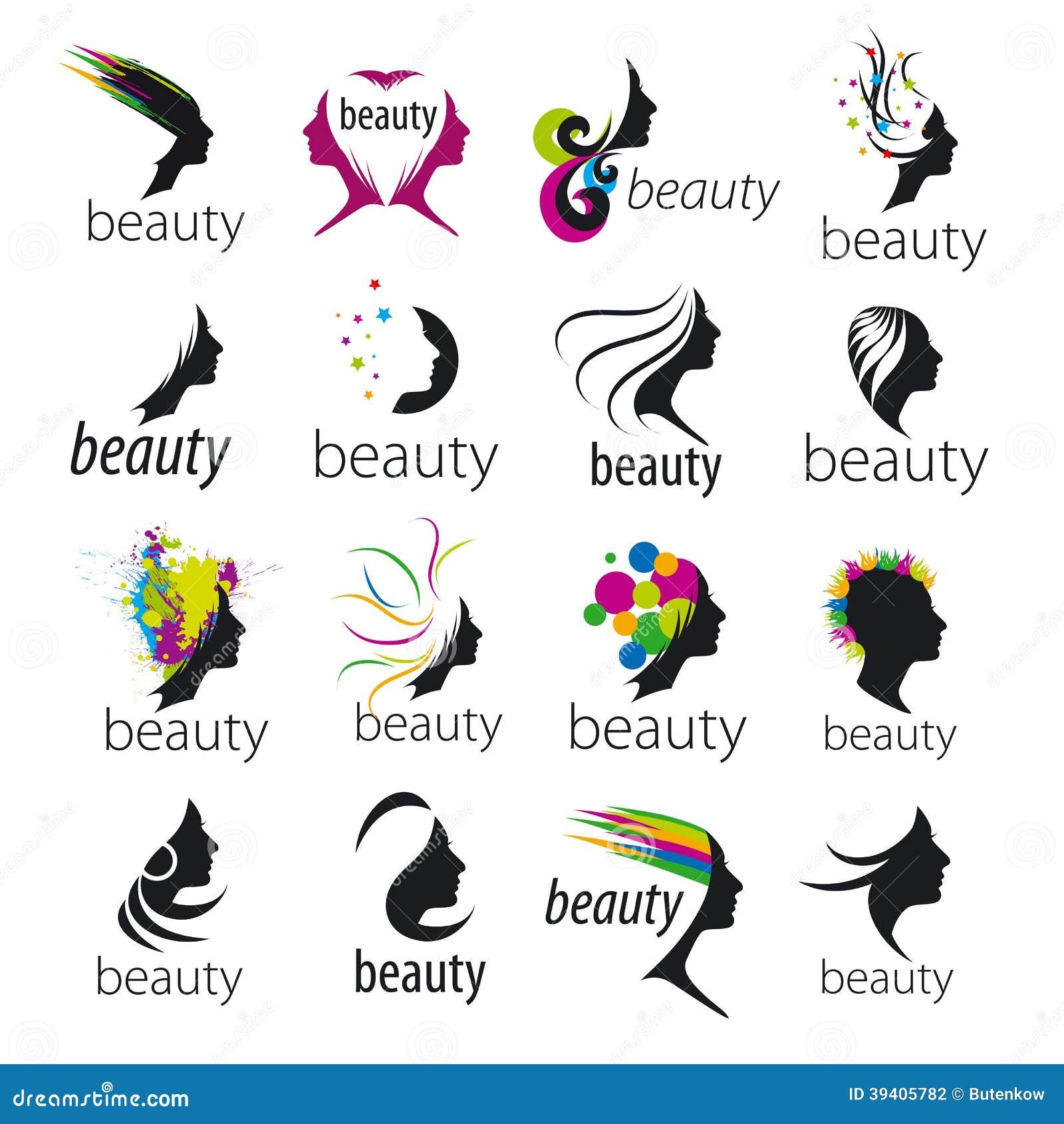 Vector Logos Beautiful Female Face Stock Vector