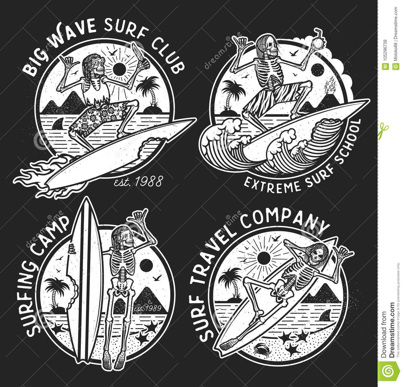 Vector Logos Illustration With Skeleton Surfers. Stock Vector ...