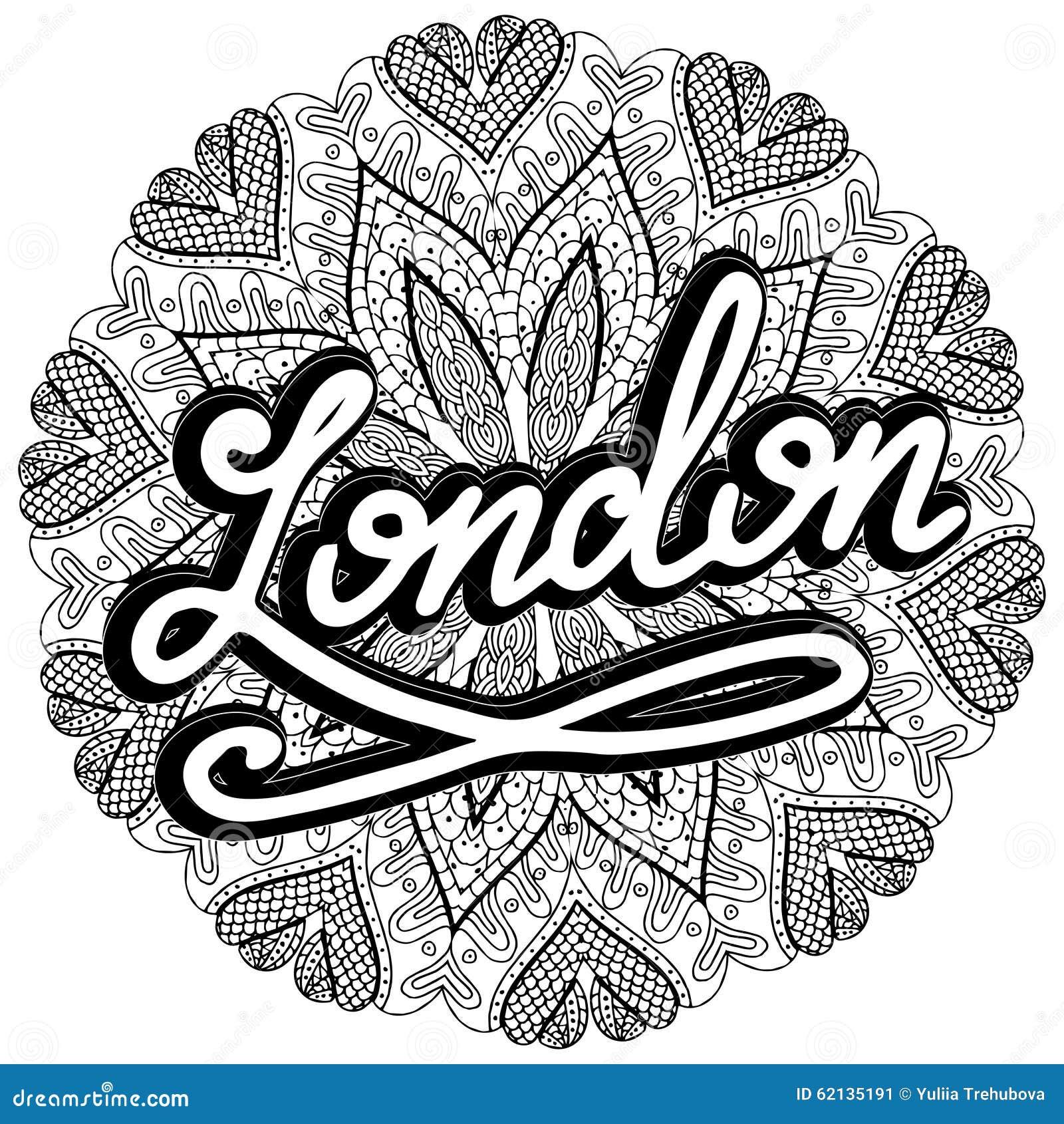 Vector London Illustration On Mandala Background Retro