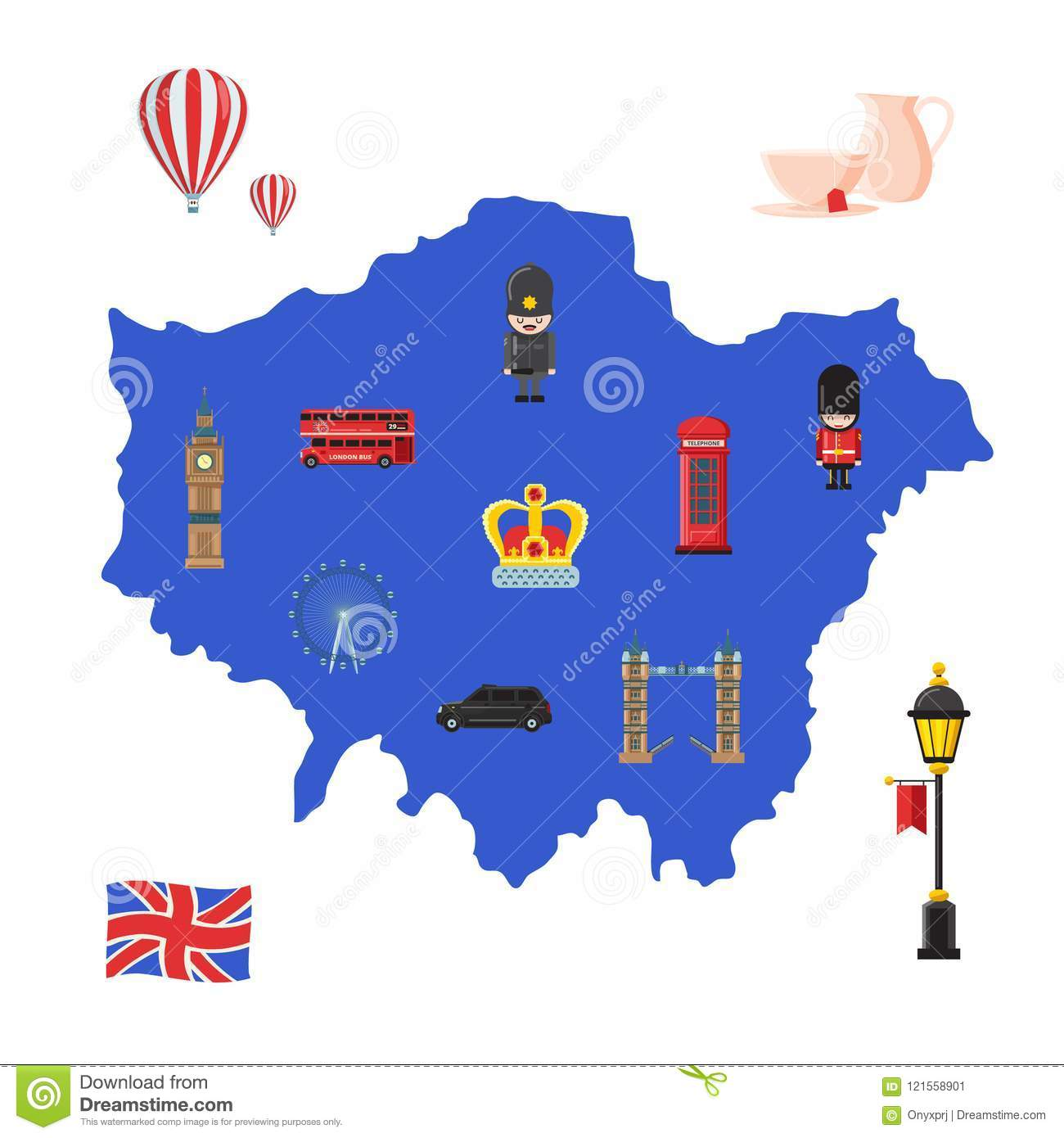 London Map With Sights.Vector London Sights Stock Vector Illustration Of Drawn 121558901