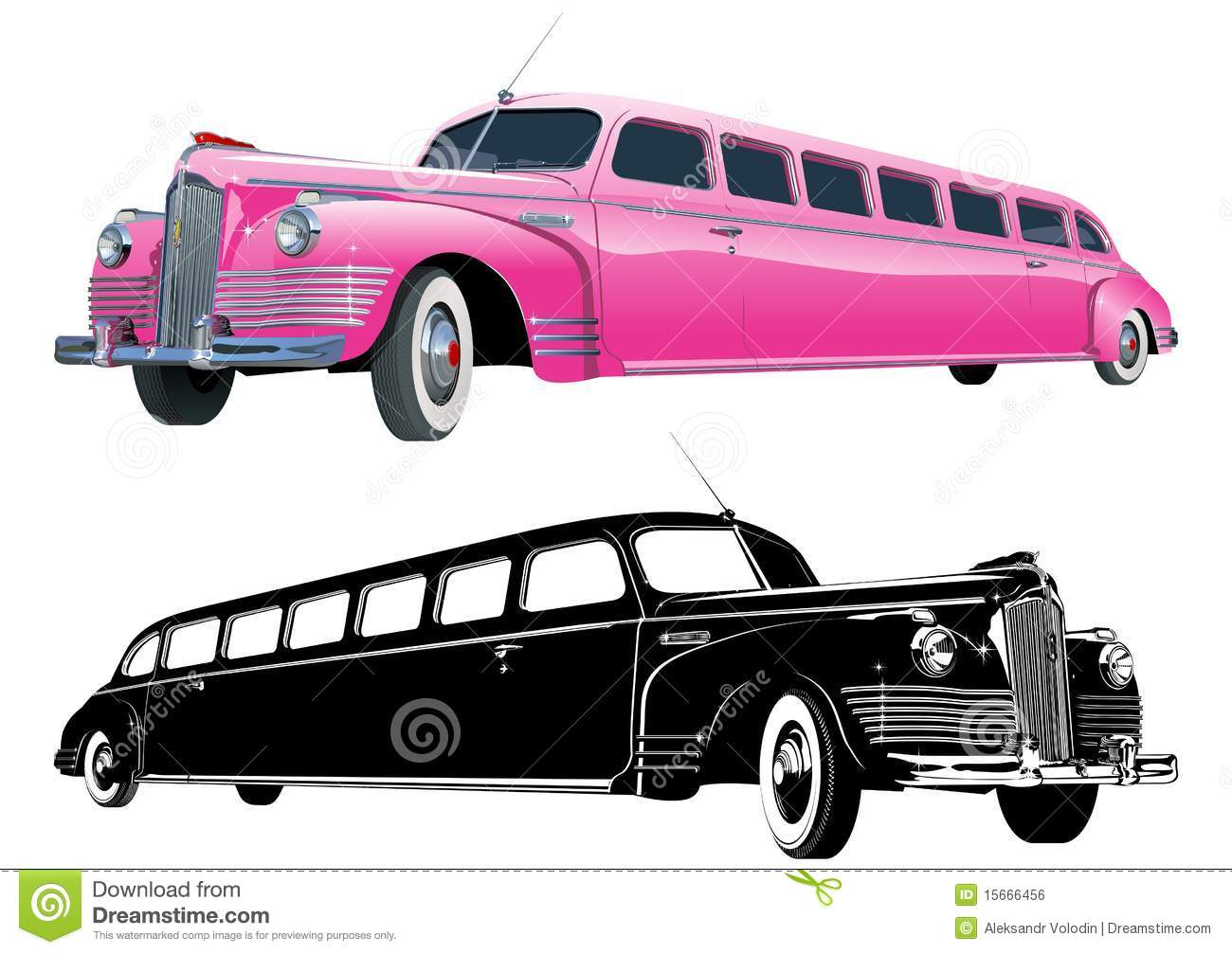 Vector Long Vintage Limo Royalty Free Stock Image - Image: 15666456
