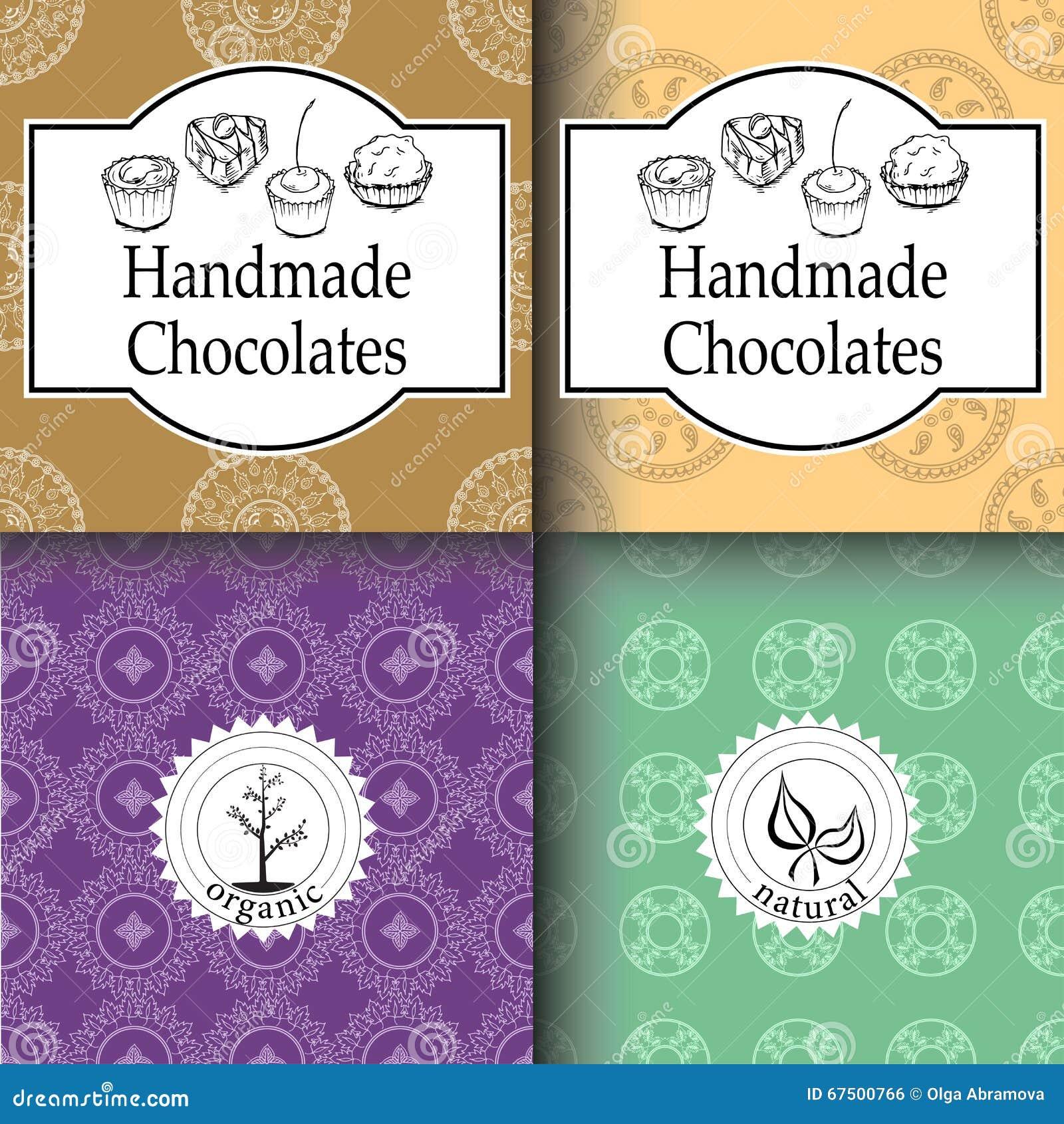 Vector Los Chocolates Hechos A Mano Que Empaquetan Plantillas Y Los ...