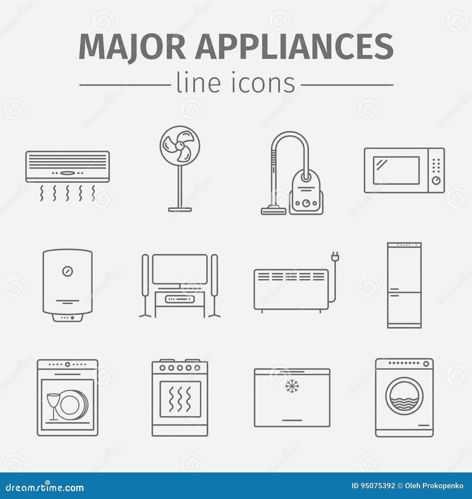 Vector los electrodomésticos y el sistema importantes del icono de la electrónica Muestras del vector