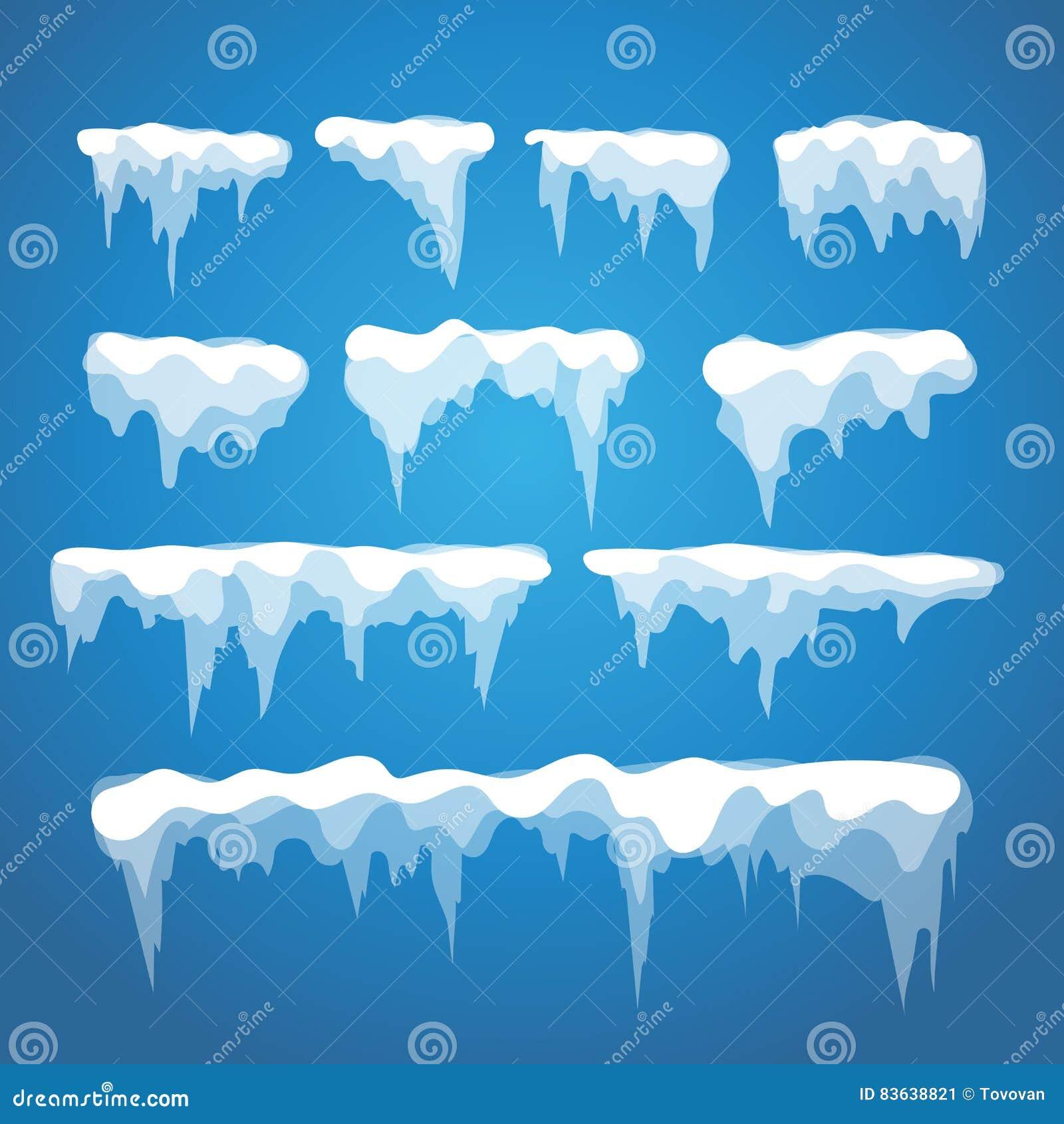 Vector los elementos del carámbano y de la nieve en fondo azul